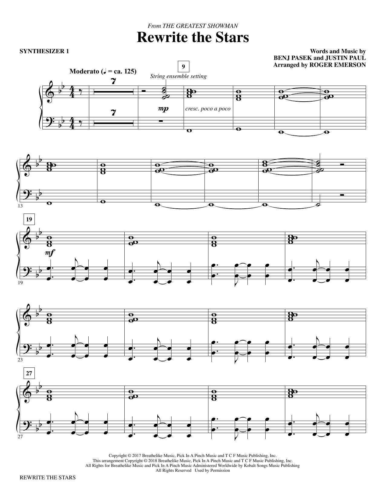 Rewrite The Stars (arr. Roger Emerson) - Synthesizer I (Choir Instrumental Pak)