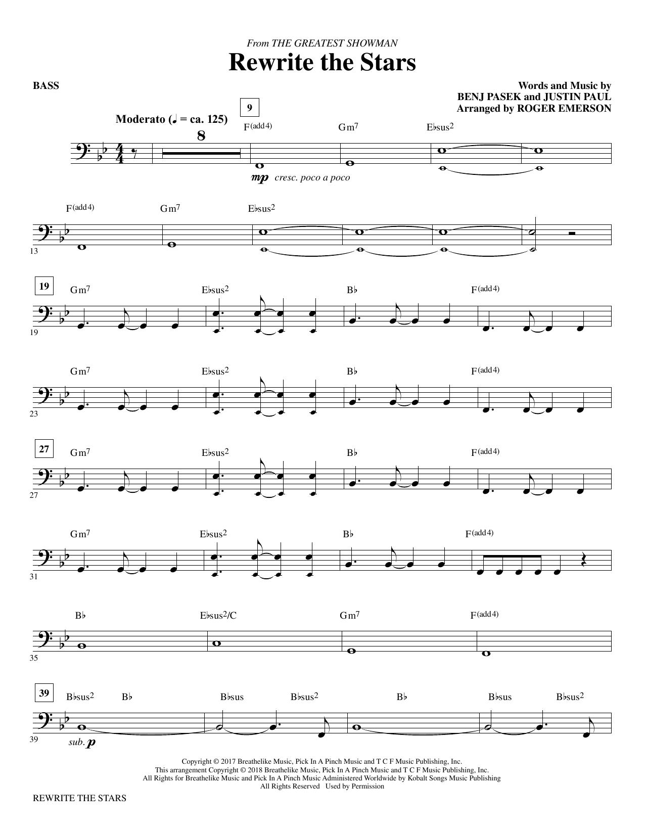 Rewrite The Stars (arr. Roger Emerson) - Bass (Choir Instrumental Pak)