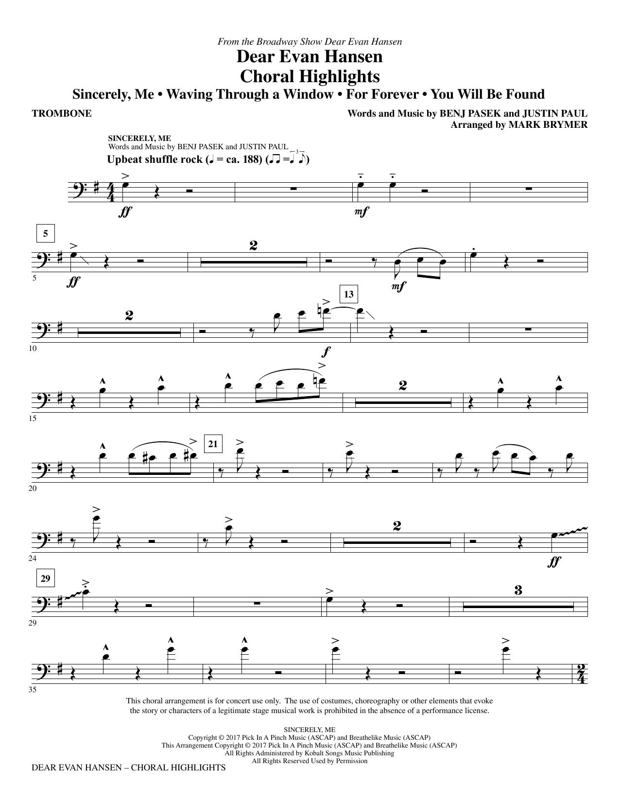 Dear Evan Hansen (Choral Highlights) - Trombone (Choir Instrumental Pak)