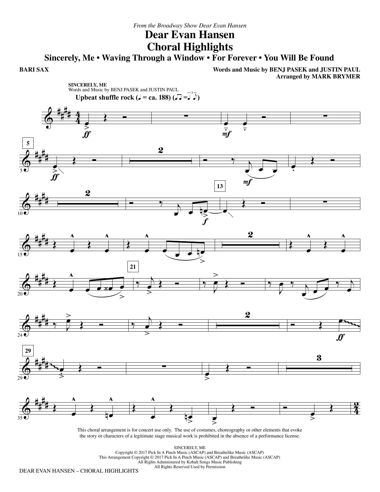 Dear Evan Hansen (Choral Highlights) - Baritone Sax (Choir Instrumental Pak)