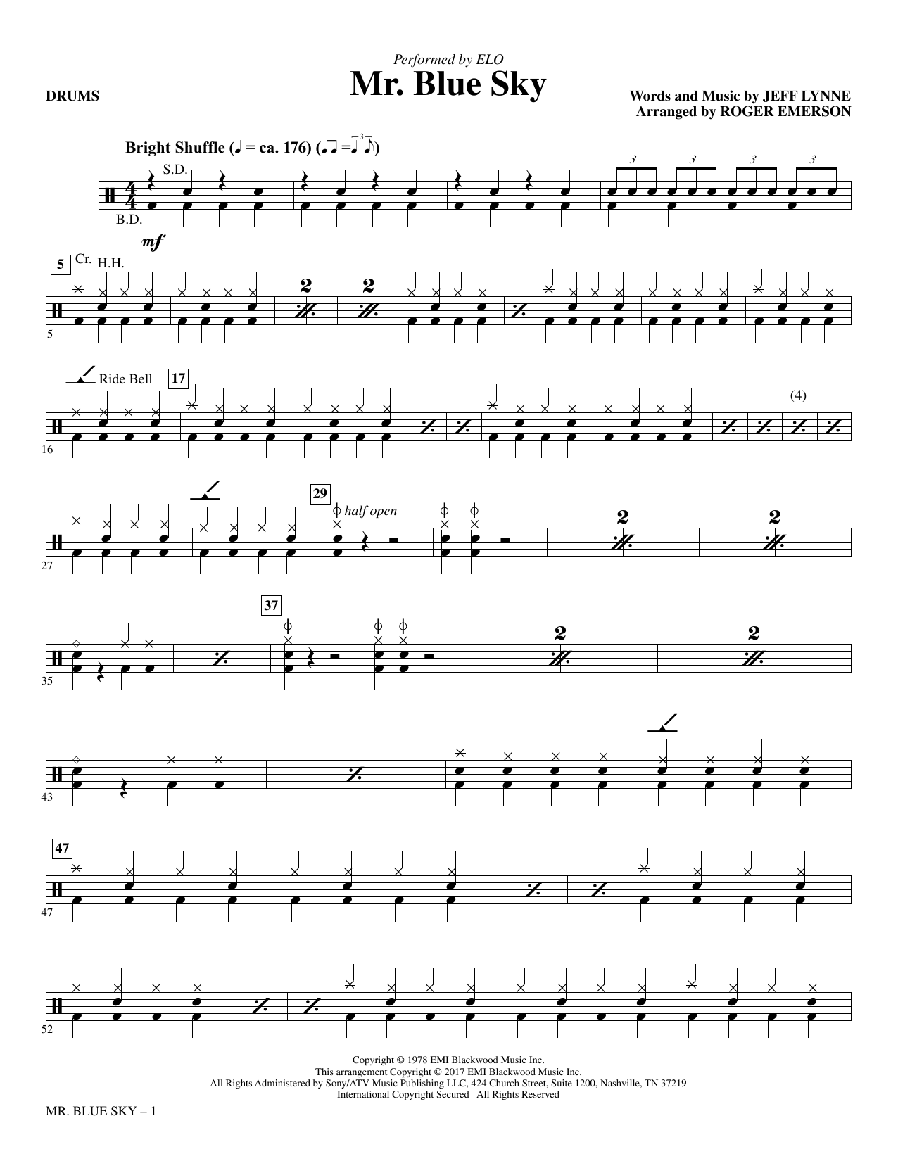Mr. Blue Sky - Drums (Choir Instrumental Pak)