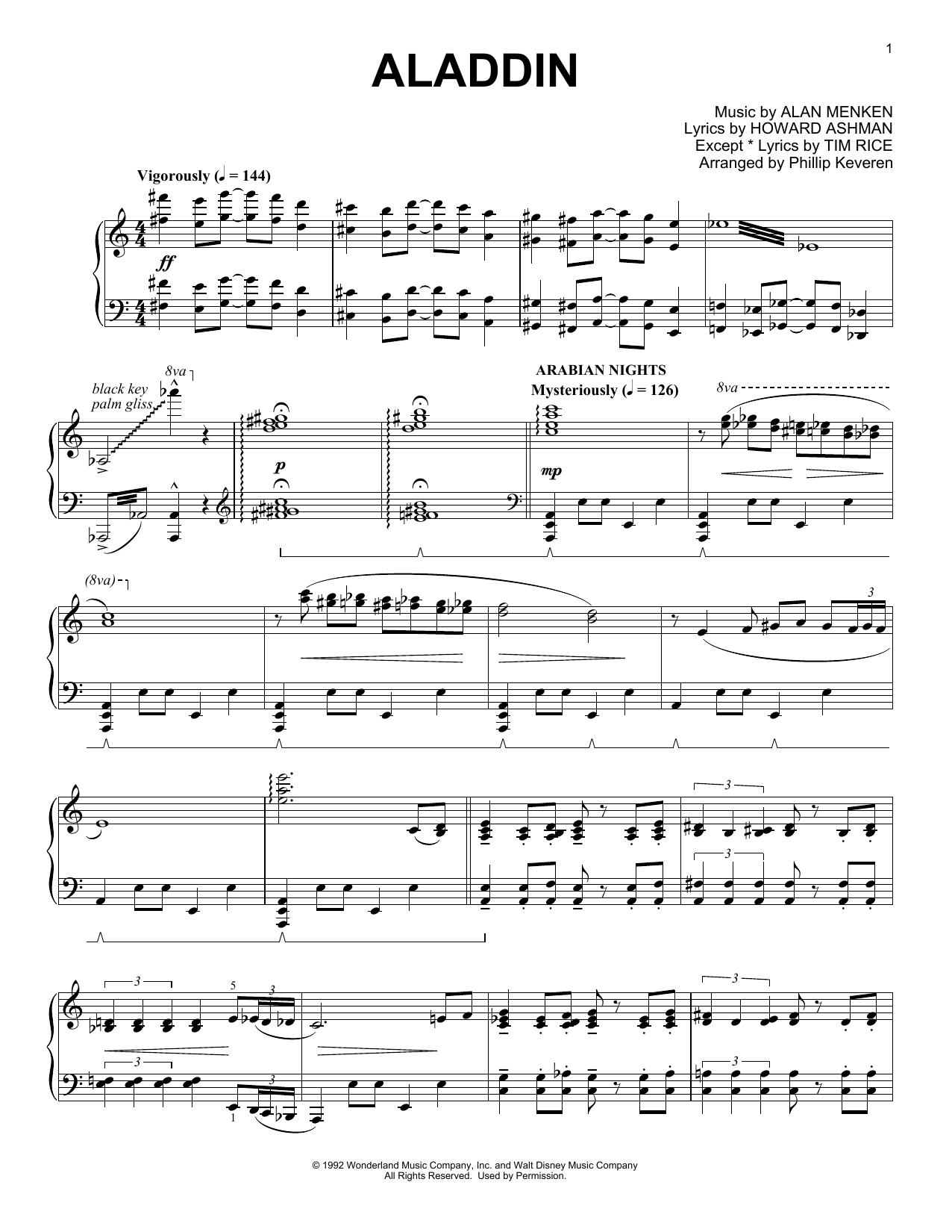 Aladdin Medley Sheet Music