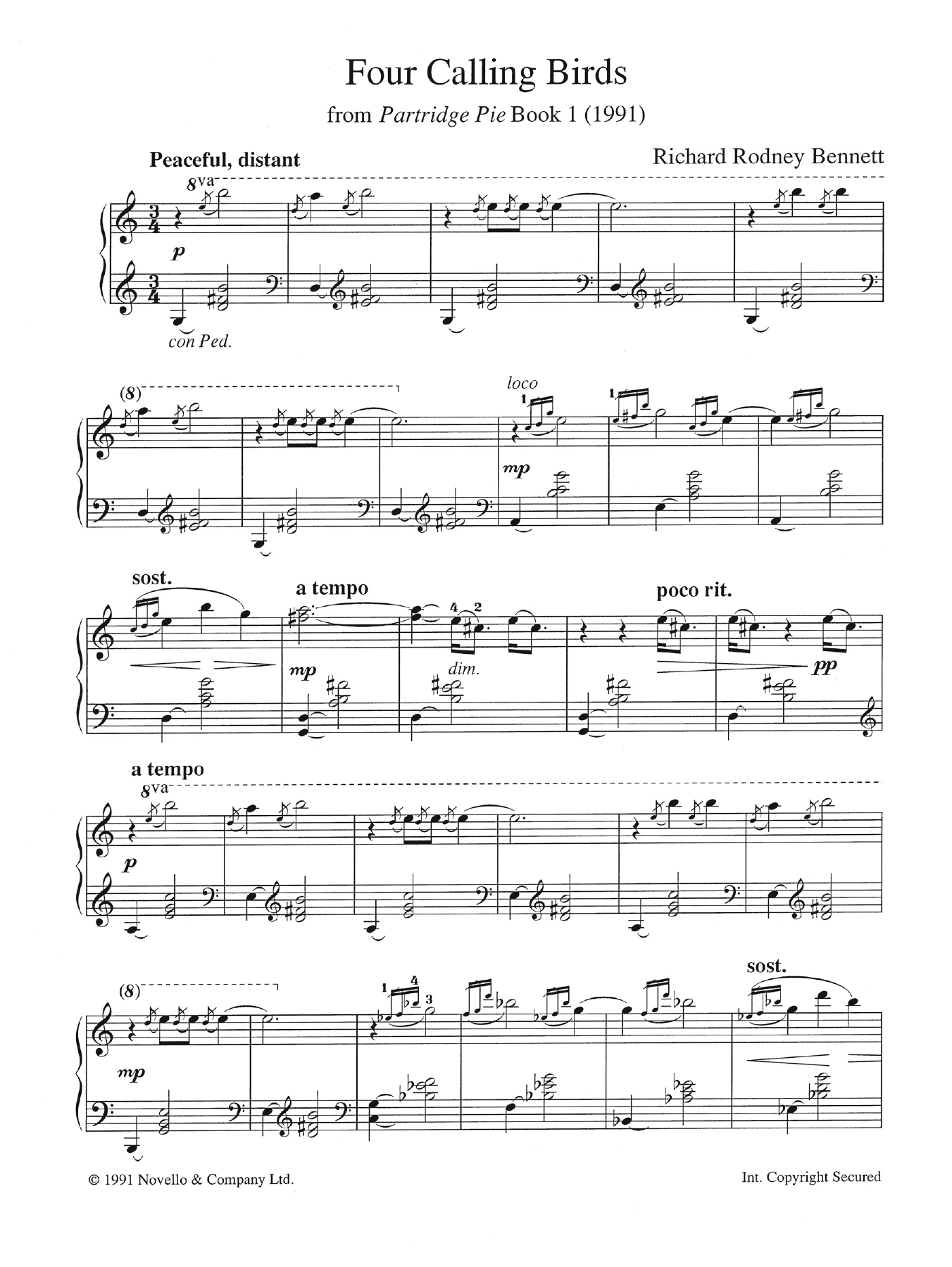 Four Calling Birds (from Partridge Pie Book 1) Sheet Music