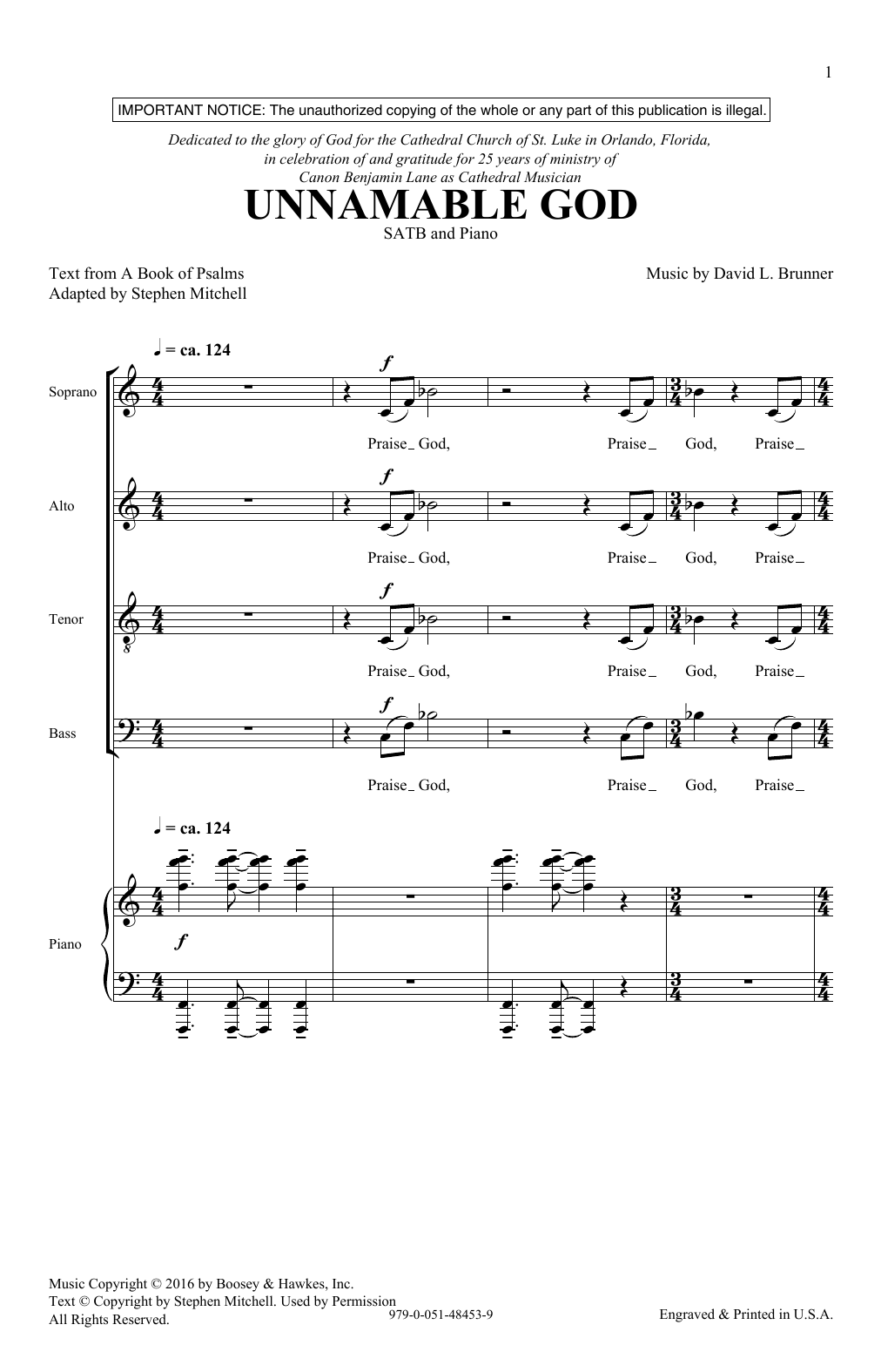 Unnamable God Sheet Music