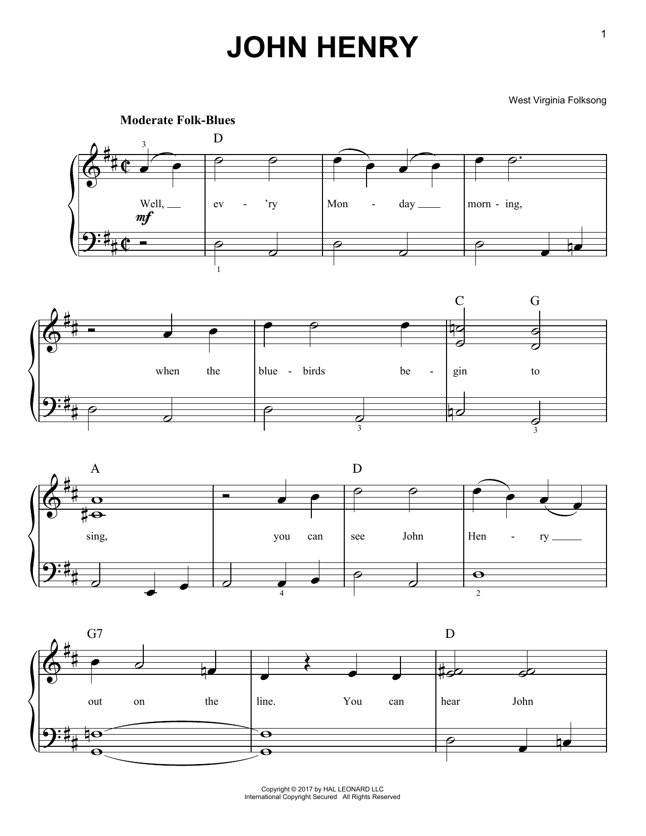 John Henry (Very Easy Piano)