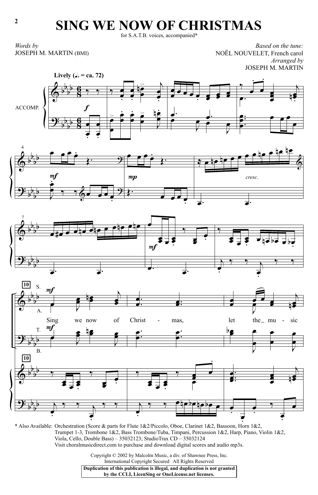 Sing We Now Of Christmas.Sing We Now Of Christmas By Joseph M Martin Satb Choir Digital Sheet Music