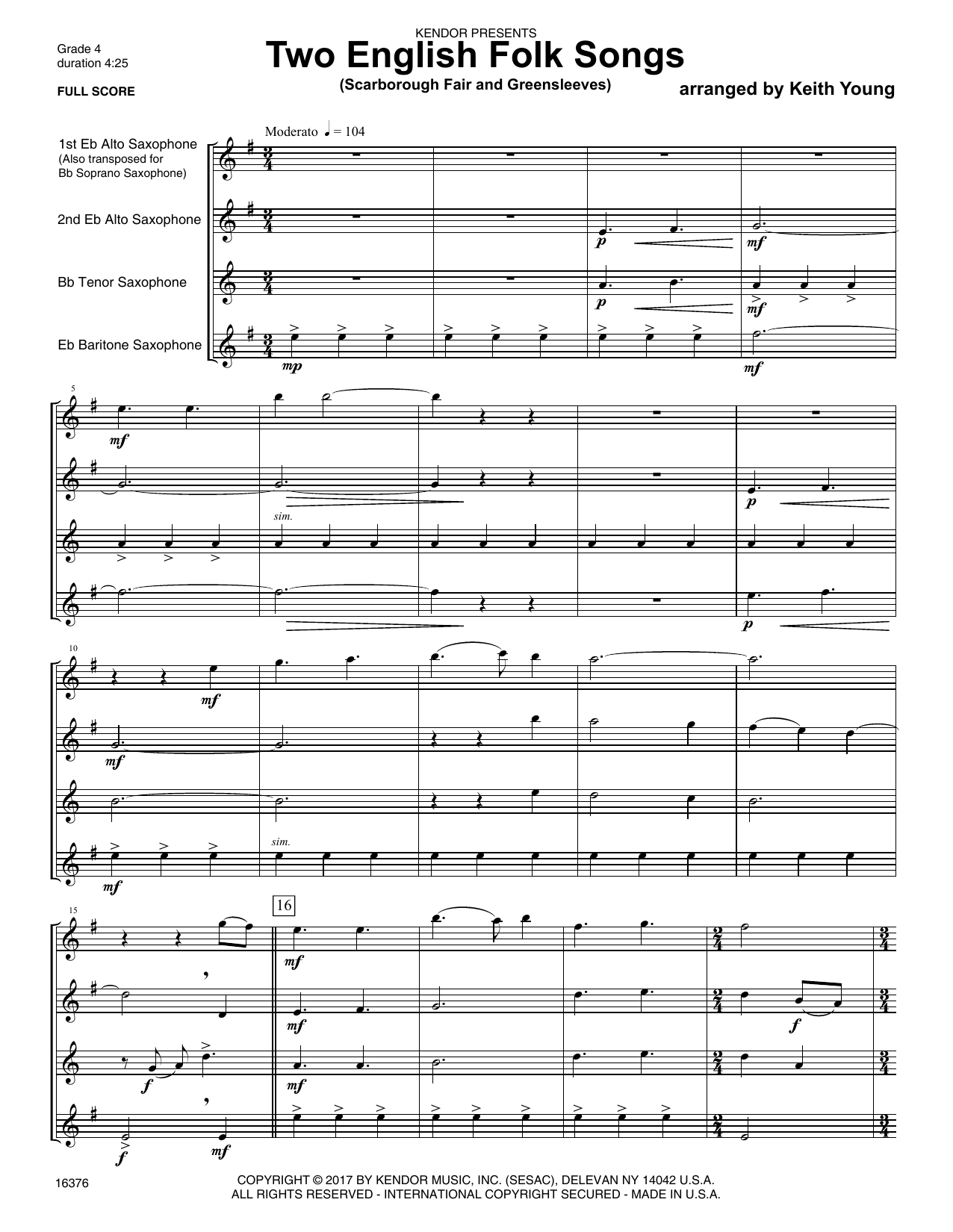 Two English Folk Songs (Scarborough Fair and Greensleeves) - Full Score Sheet Music