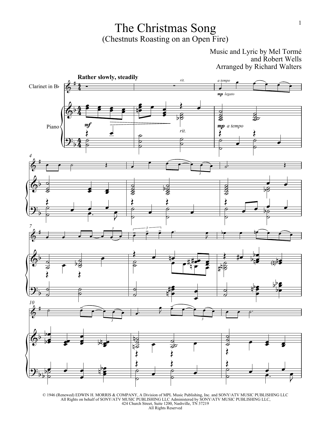 The Christmas Song (Chestnuts Roasting On An Open Fire) (Clarinet and Piano)