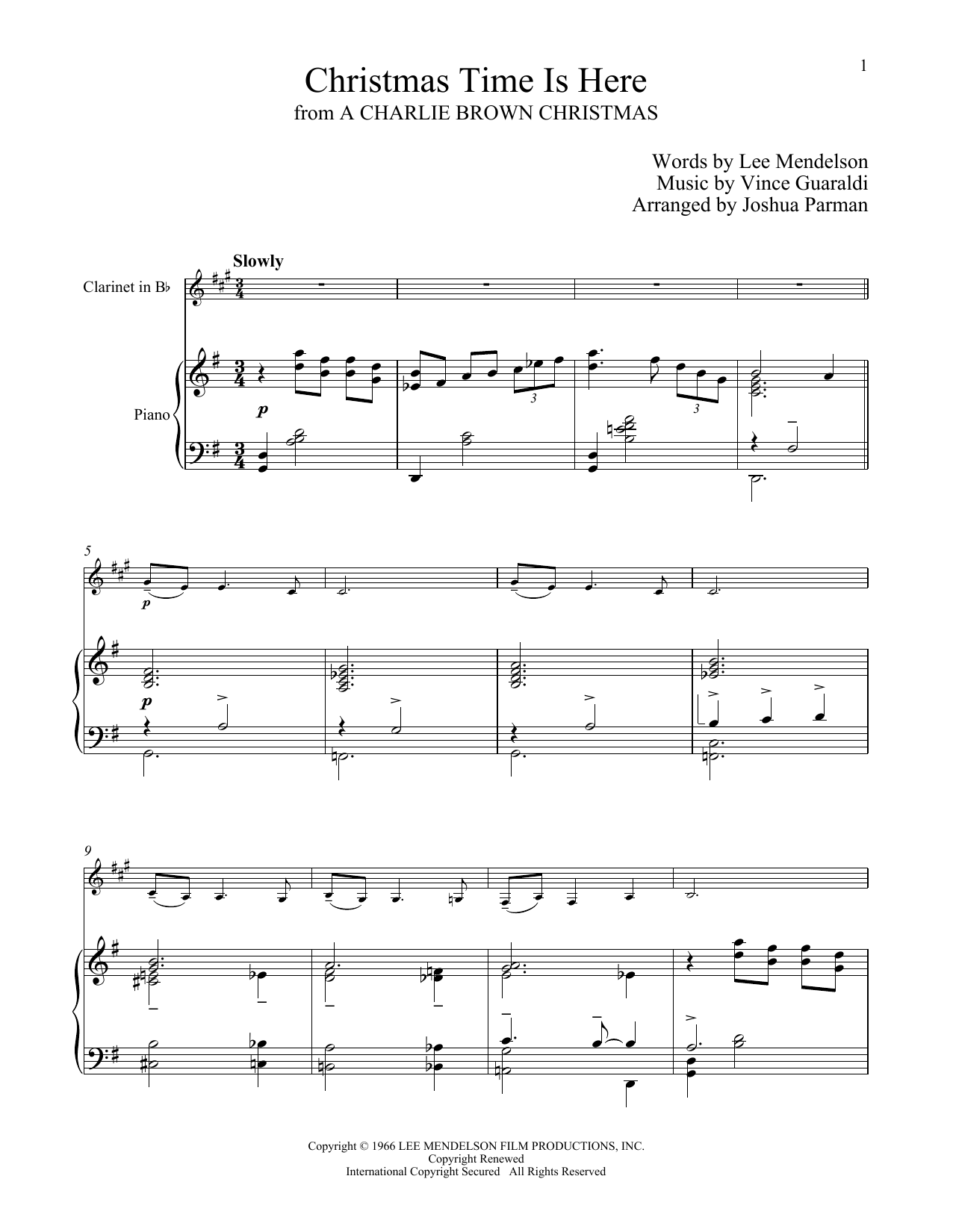 Christmas Time Is Here Sheet Music | Vince Guaraldi | Clarinet and Piano