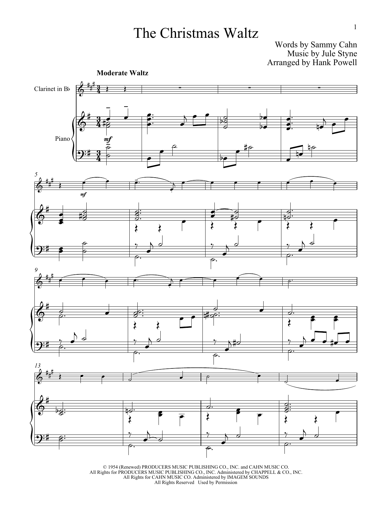 The Christmas Waltz (Clarinet and Piano)