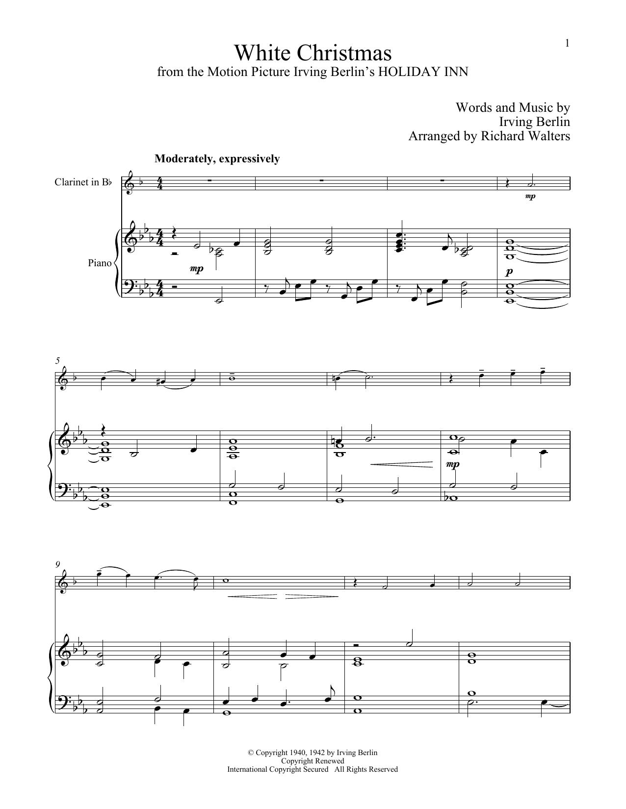 Clarinet Sheet Music Christmas.White Christmas Clarinet And Piano Print Sheet Music Now