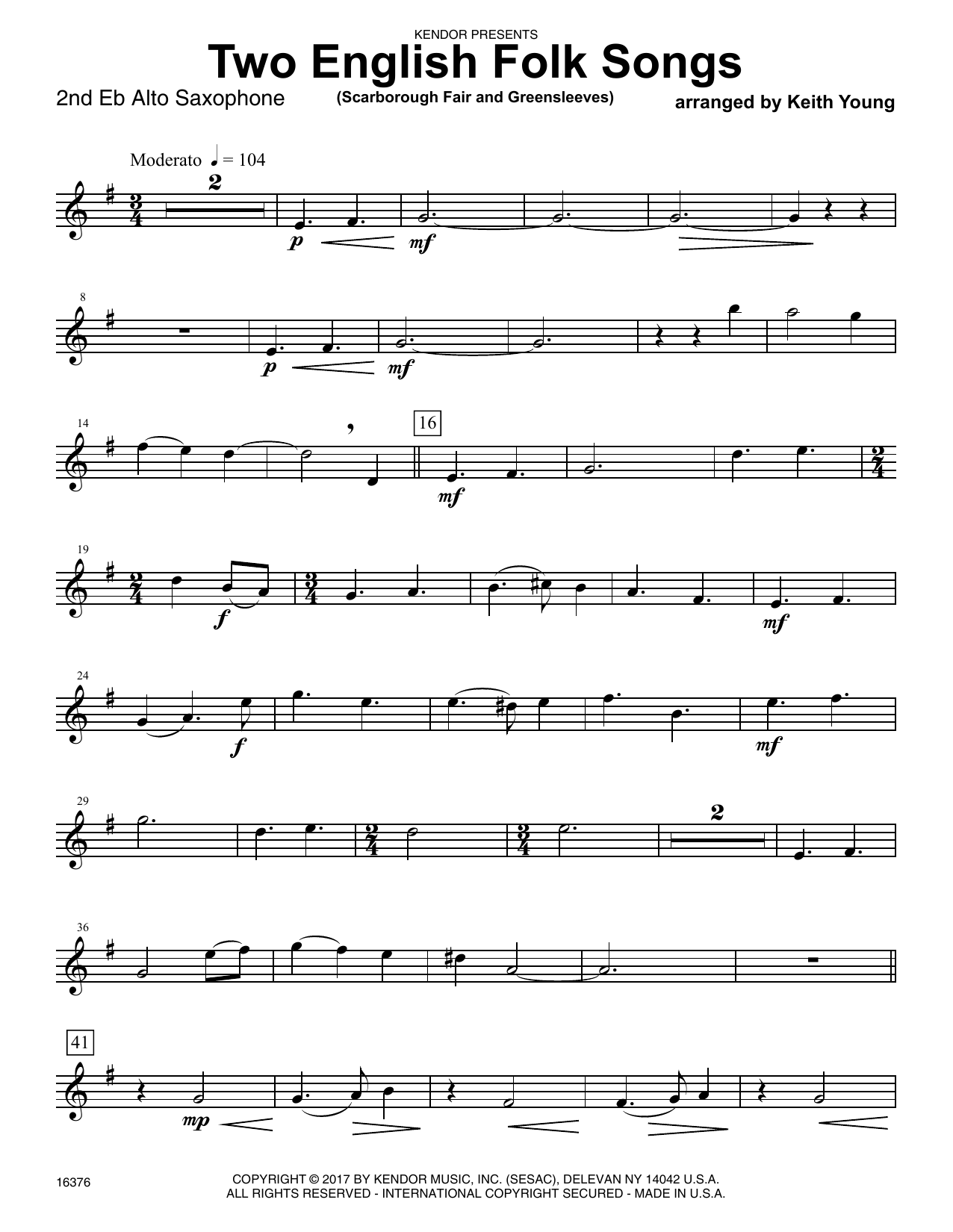 Two English Folk Songs (Scarborough Fair and Greensleeves) - 2nd Eb Alto Saxophone Sheet Music