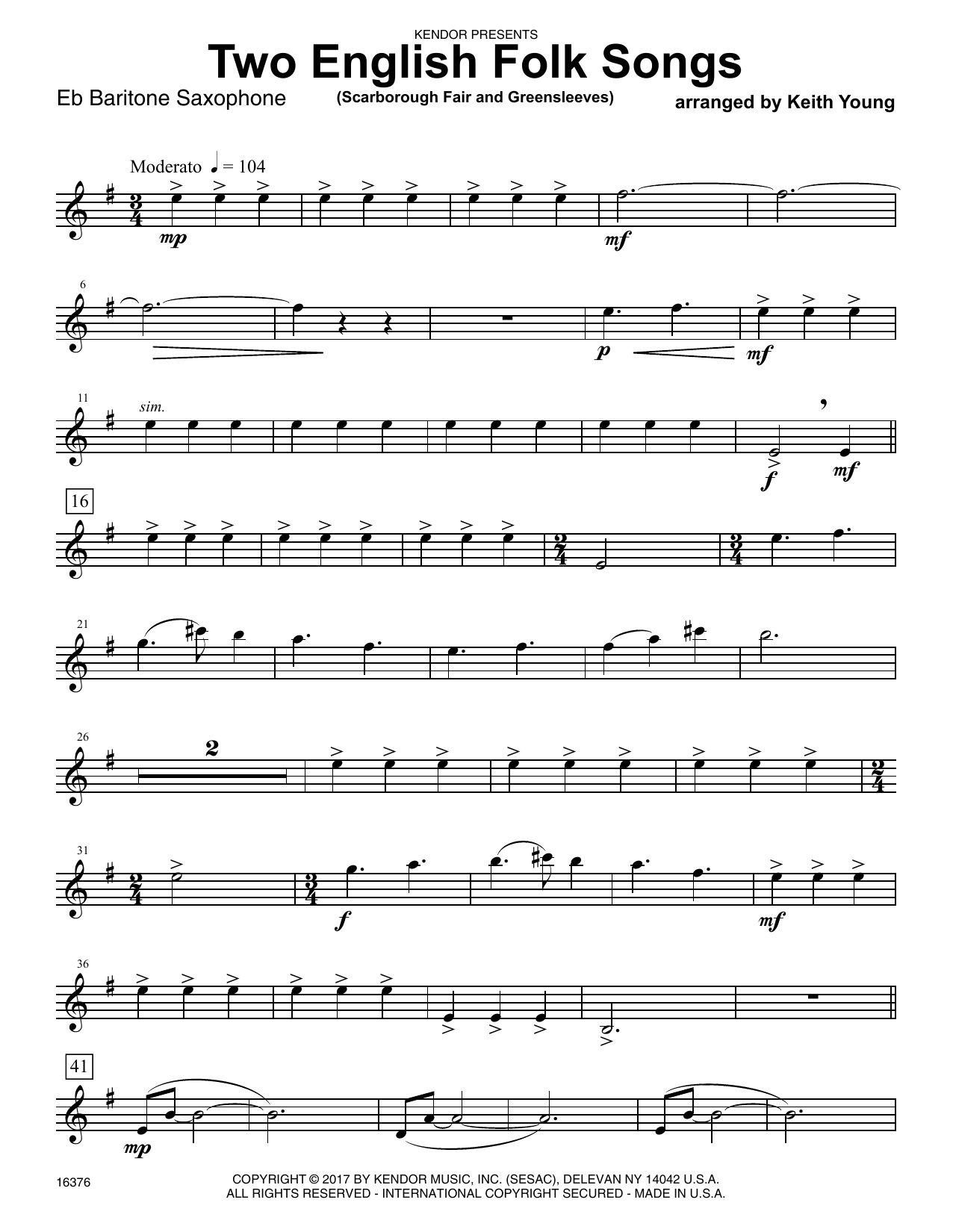 Two English Folk Songs (Scarborough Fair and Greensleeves) - Eb Baritone Saxophone Sheet Music