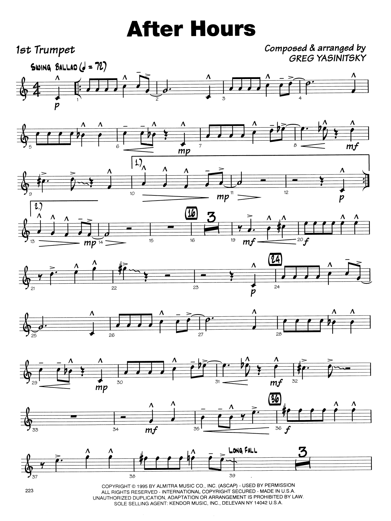 After Hours - 1st Bb Trumpet - Sheet Music to Download