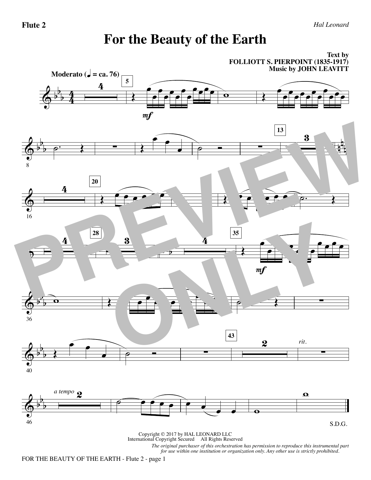 For the Beauty of the Earth - Flute 2 Sheet Music