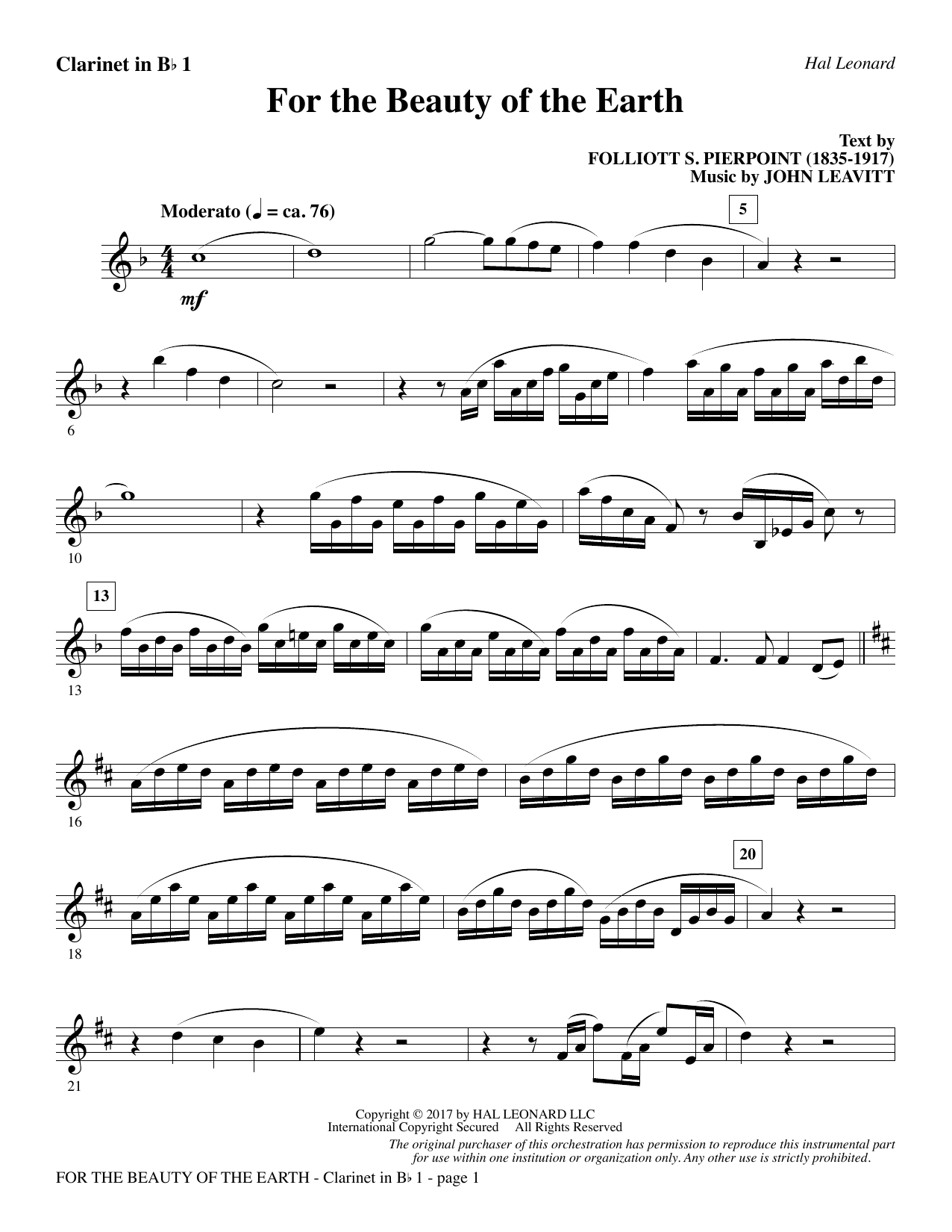 For the Beauty of the Earth - Bb Clarinet 1 (Choir Instrumental Pak)