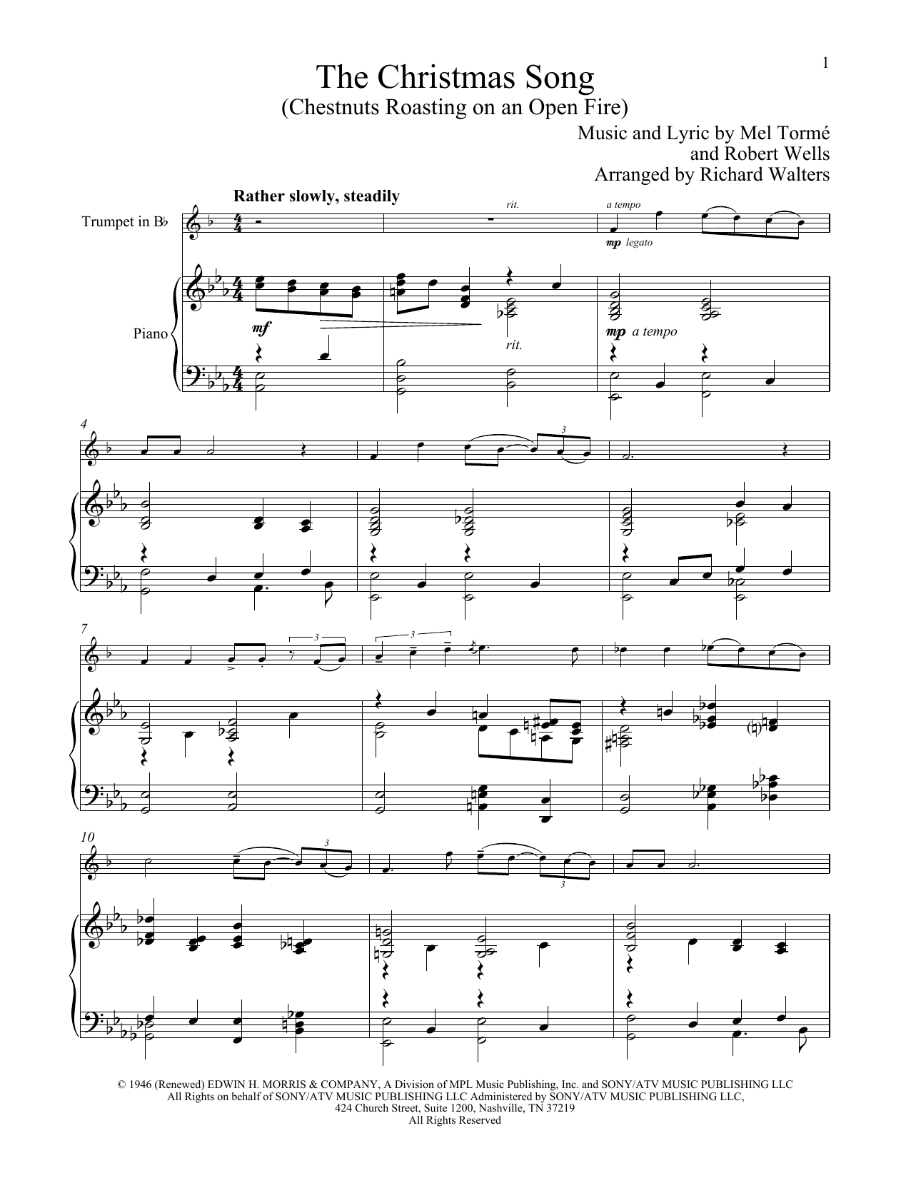 The Christmas Song (Chestnuts Roasting On An Open Fire) (Trumpet and Piano)
