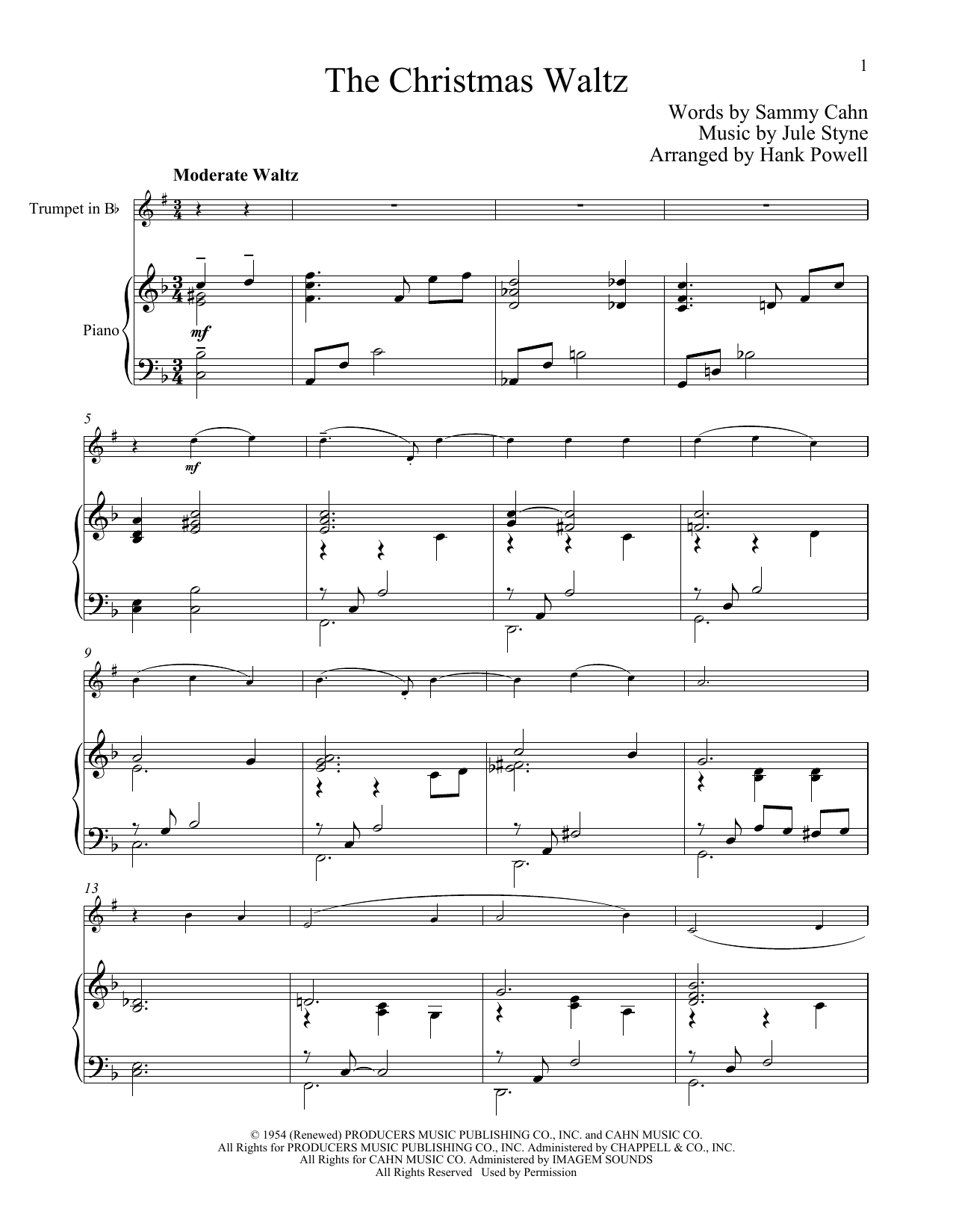 The Christmas Waltz (Trumpet and Piano)