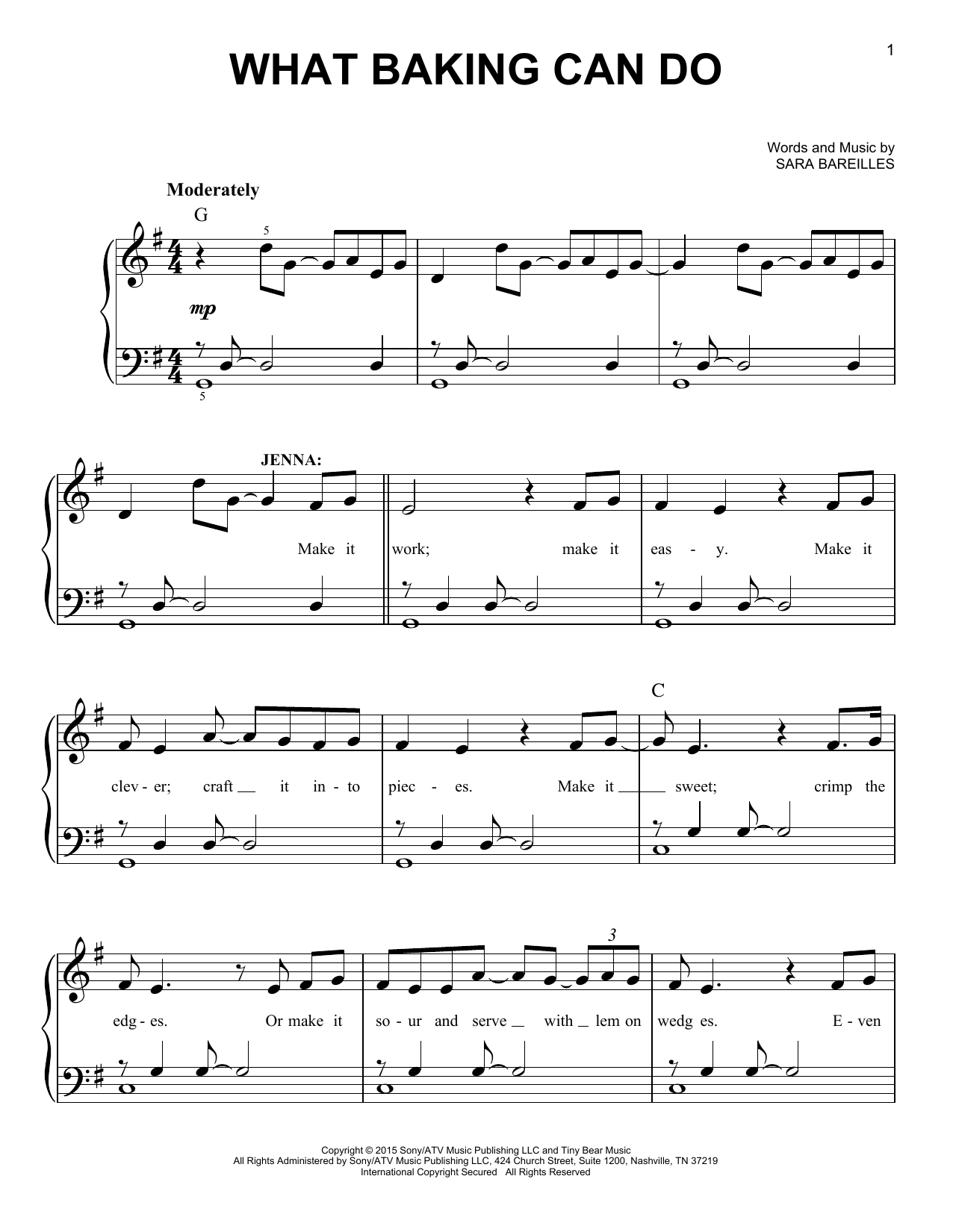What Baking Can Do (from Waitress The Musical) (Easy Piano)