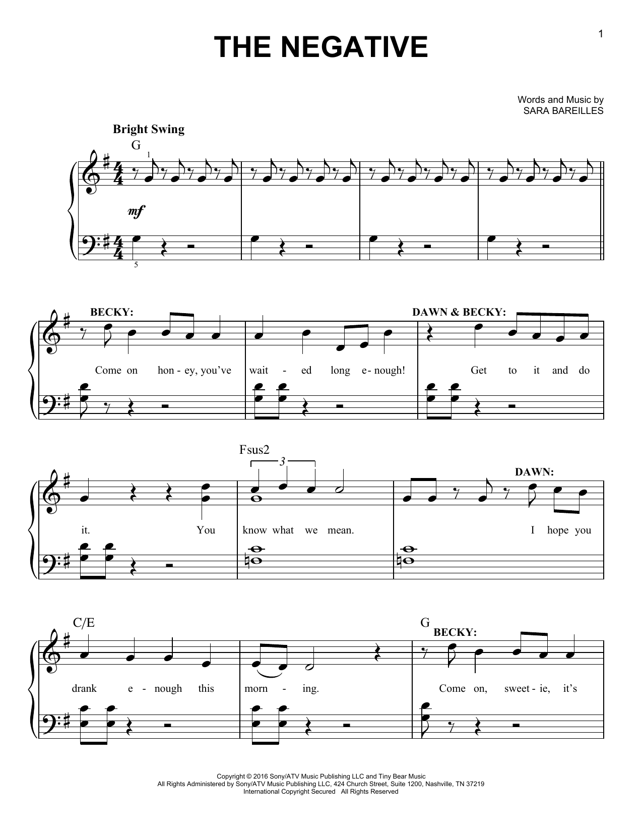 The Negative (from Waitress the Musical) (Easy Piano)