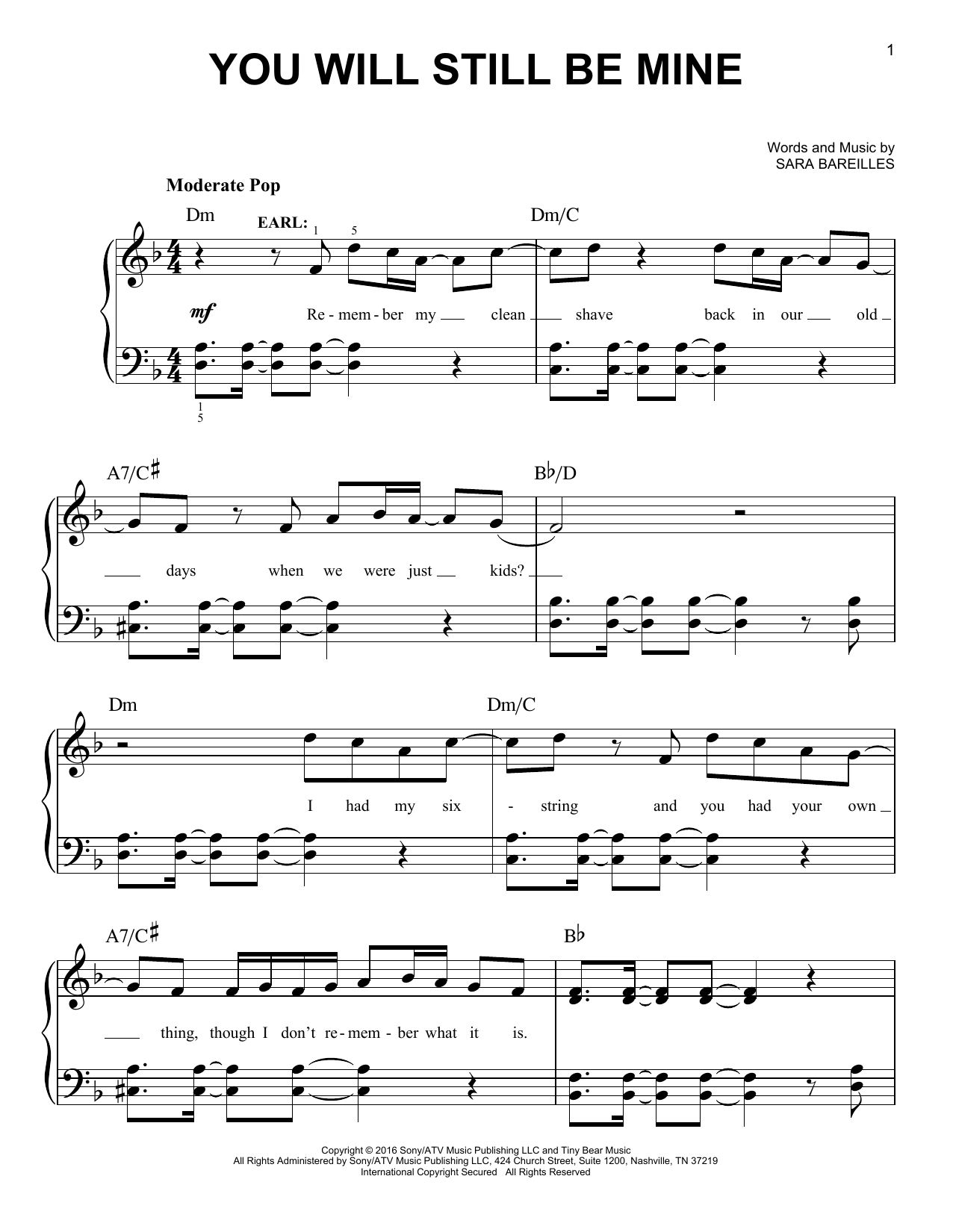 You Will Still Be Mine (from Waitress The Musical) (Easy Piano)