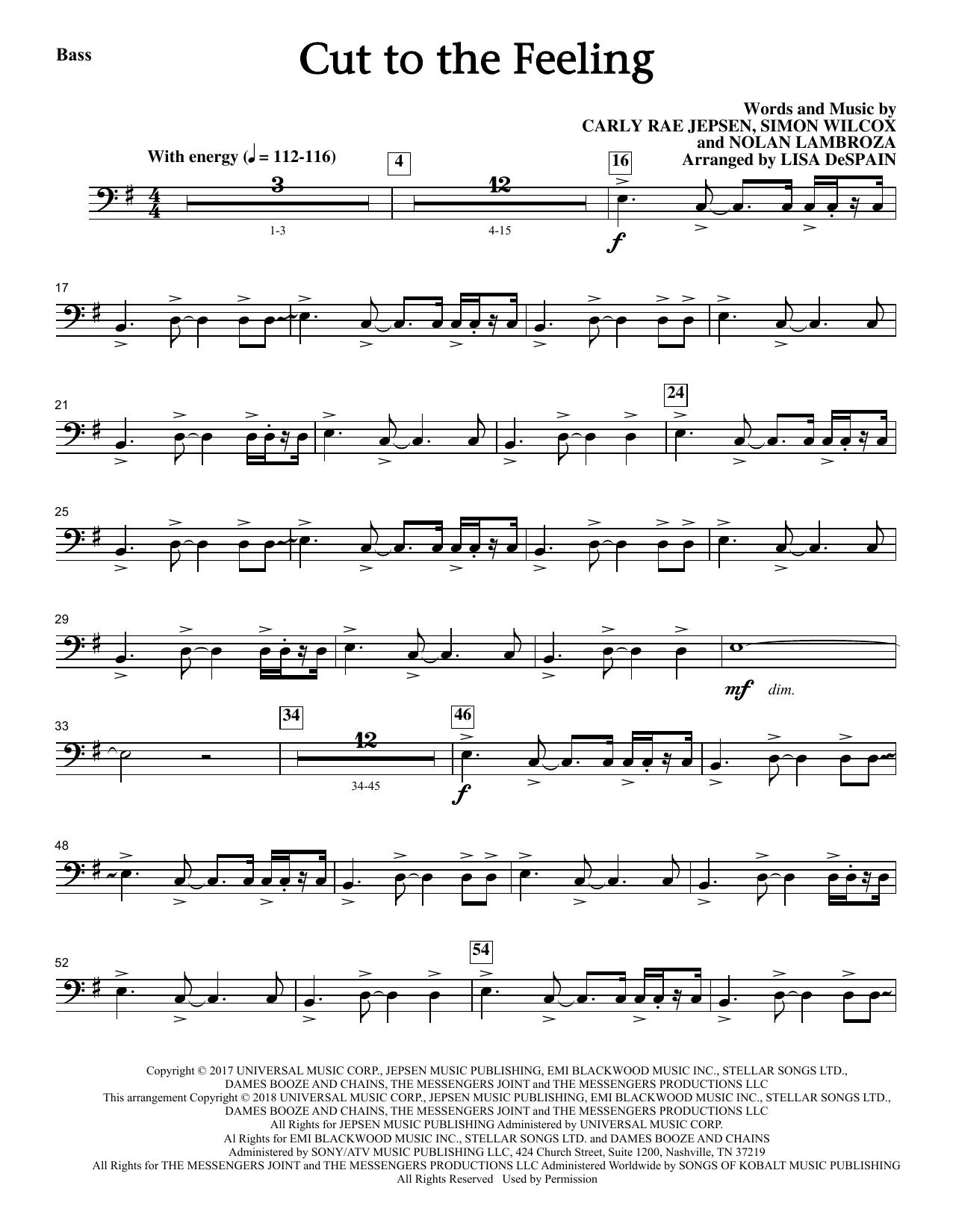 Cut To The Feeling - Bass (Choir Instrumental Pak)