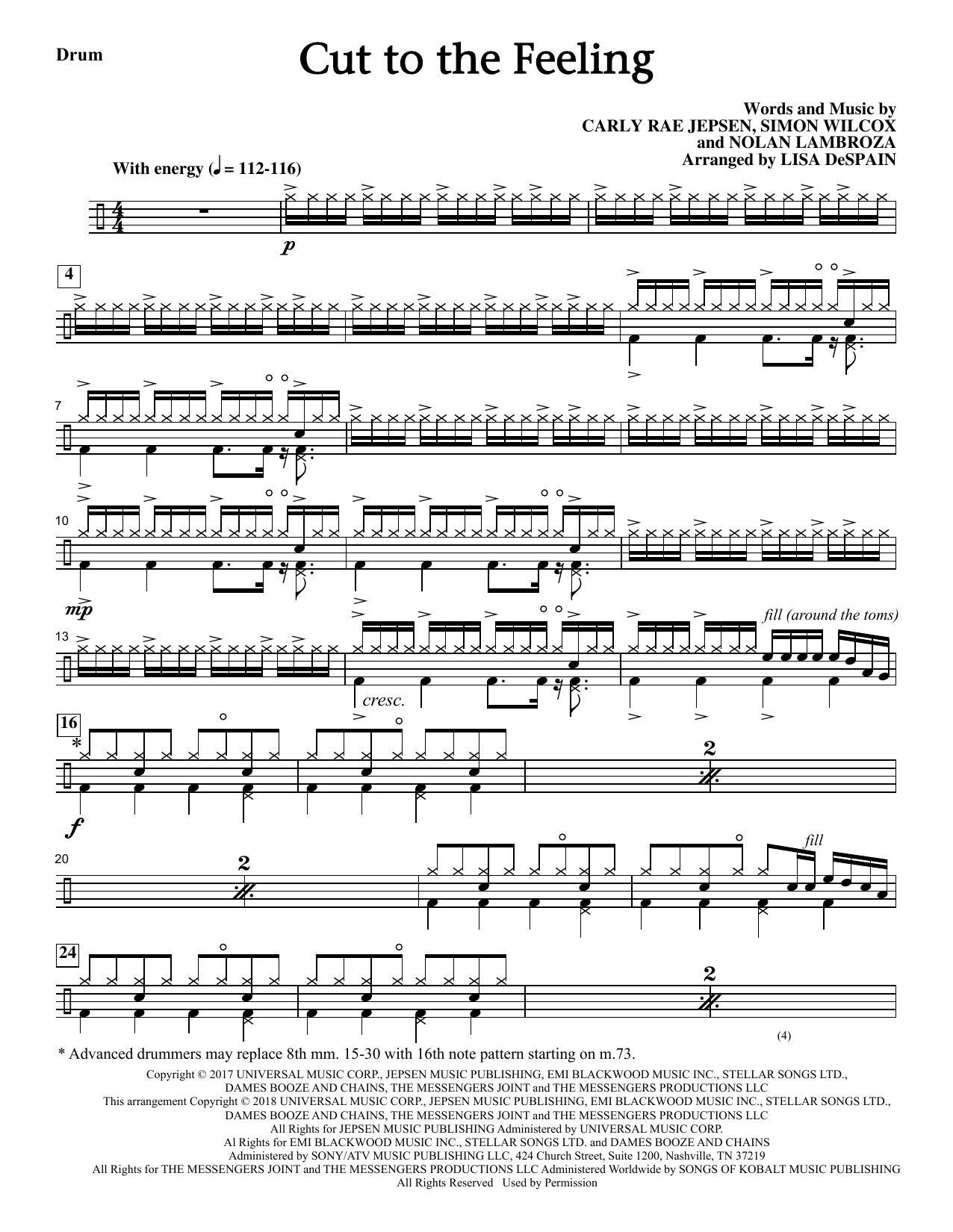 Cut To The Feeling - Drums (Choir Instrumental Pak)