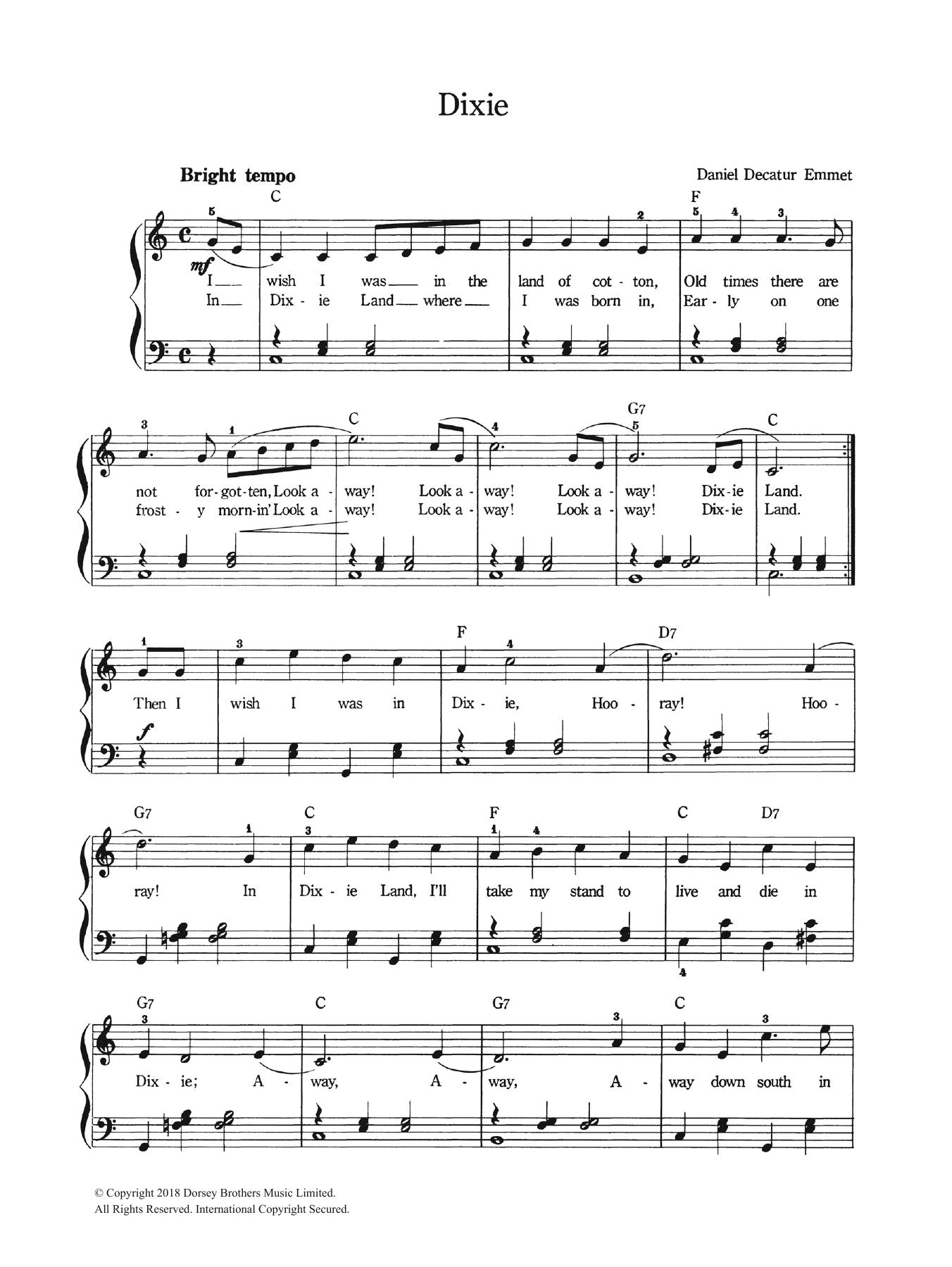 Dixie Sheet Music