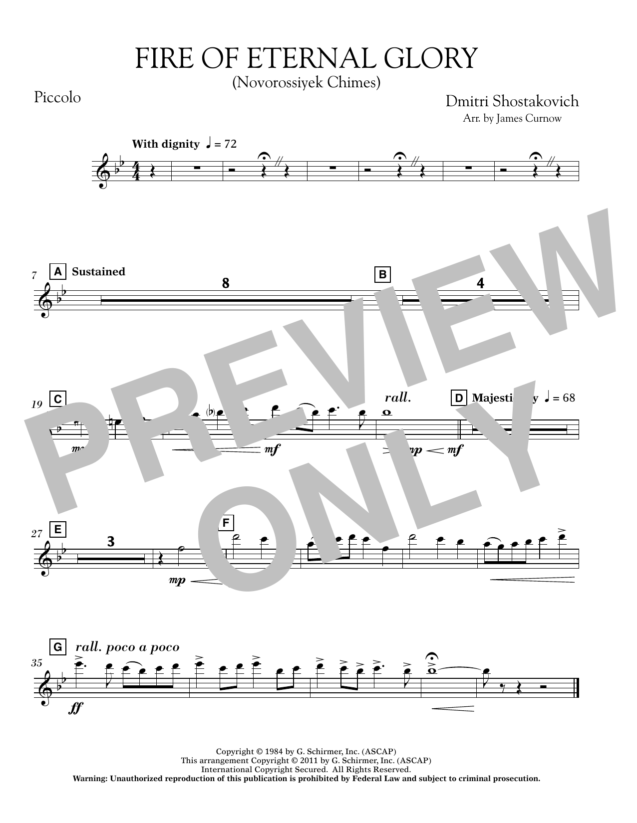 Fire of Eternal Glory (Novorossiyek Chimes) - Piccolo (Concert Band)