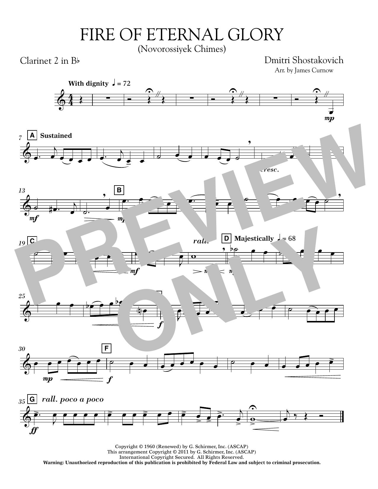 Fire of Eternal Glory (Novorossiyek Chimes) - Bb Clarinet 2 (Concert Band)