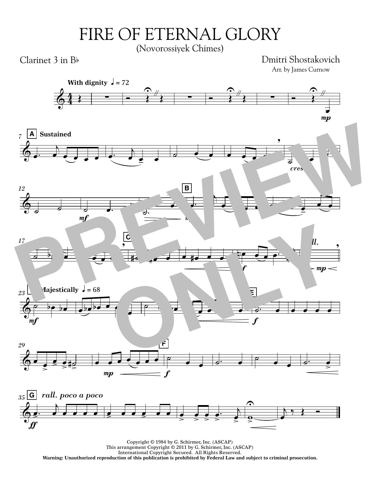 Fire of Eternal Glory (Novorossiyek Chimes) - Bb Clarinet 3 (Concert Band)