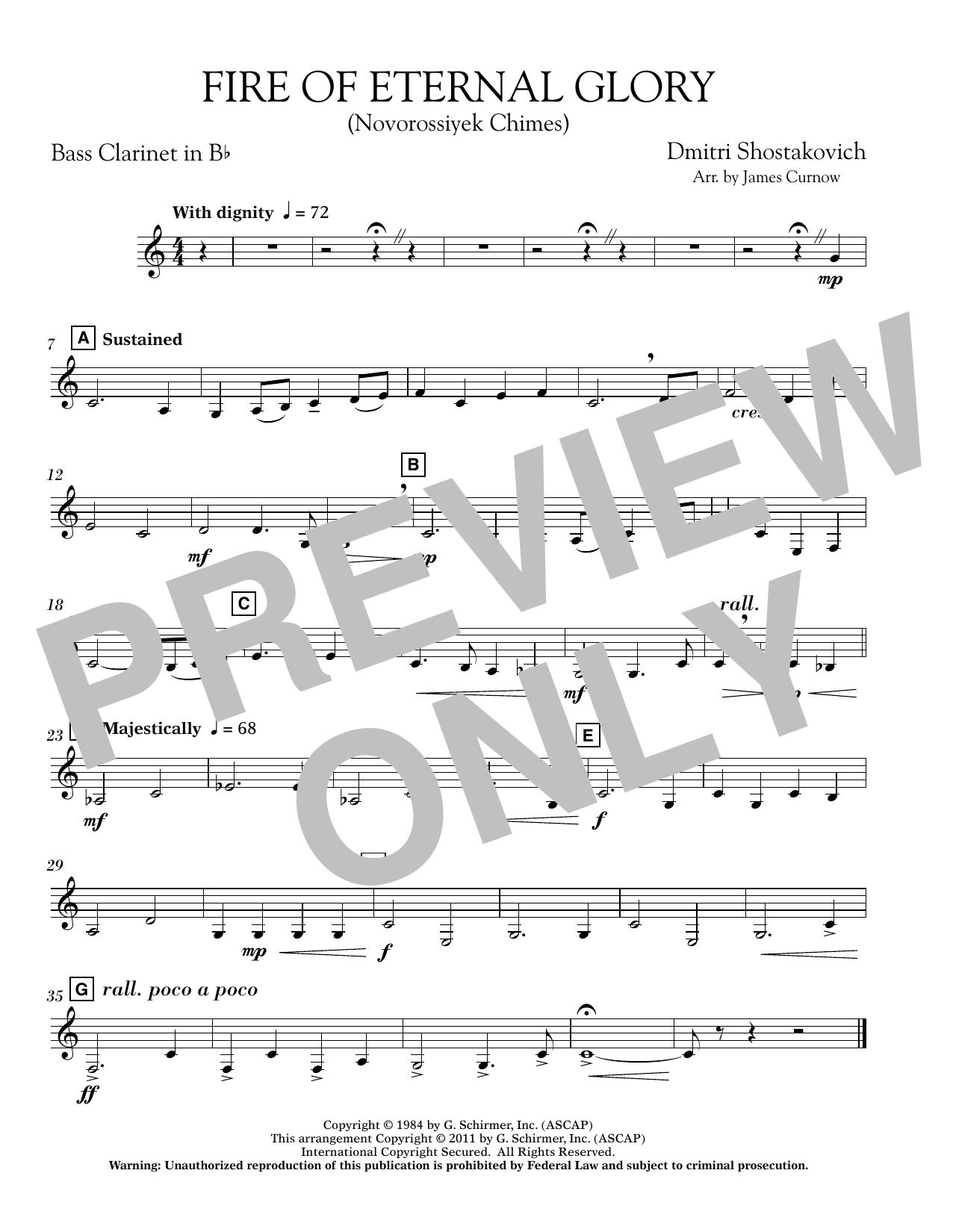Fire of Eternal Glory (Novorossiyek Chimes) - Bb Bass Clarinet (Concert Band)