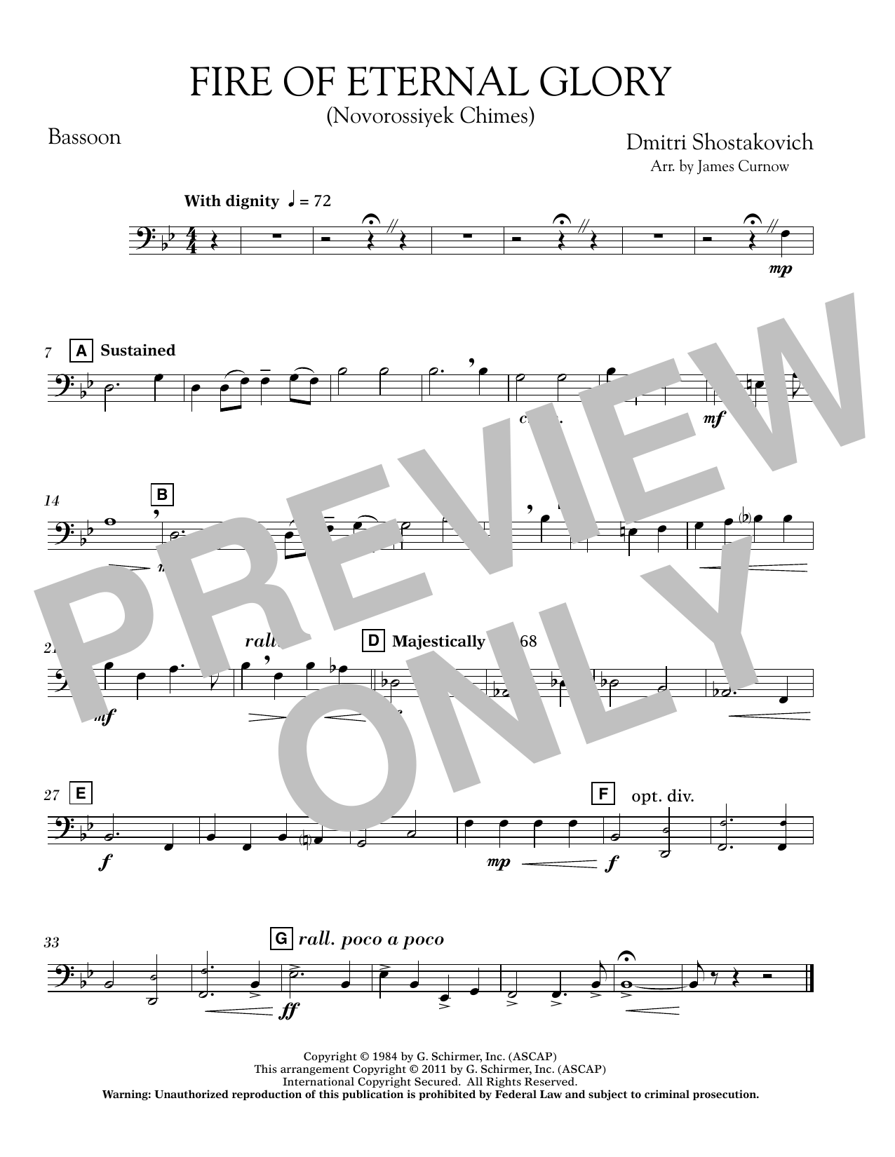 Fire of Eternal Glory (Novorossiyek Chimes) - Bassoon (Concert Band)