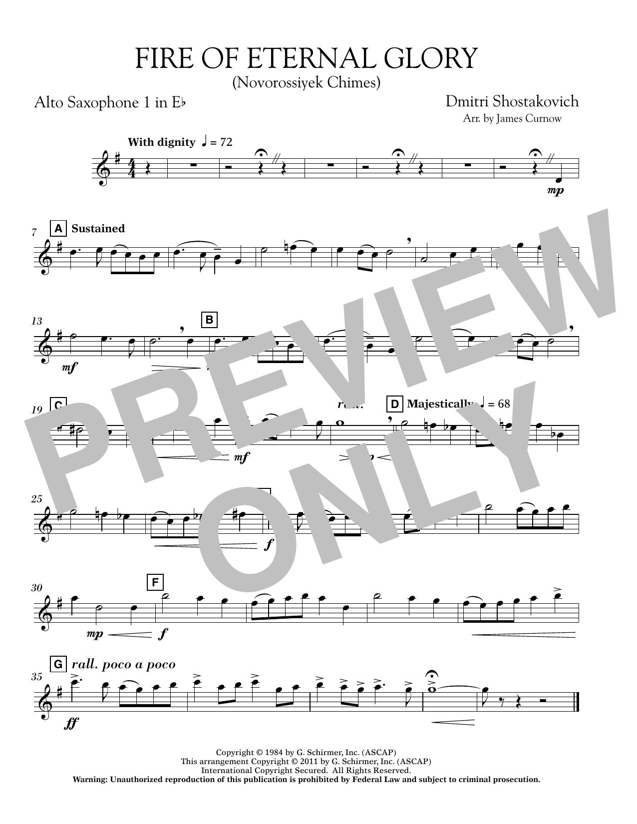 Fire of Eternal Glory (Novorossiyek Chimes) - Eb Alto Saxophone 1 (Concert Band)