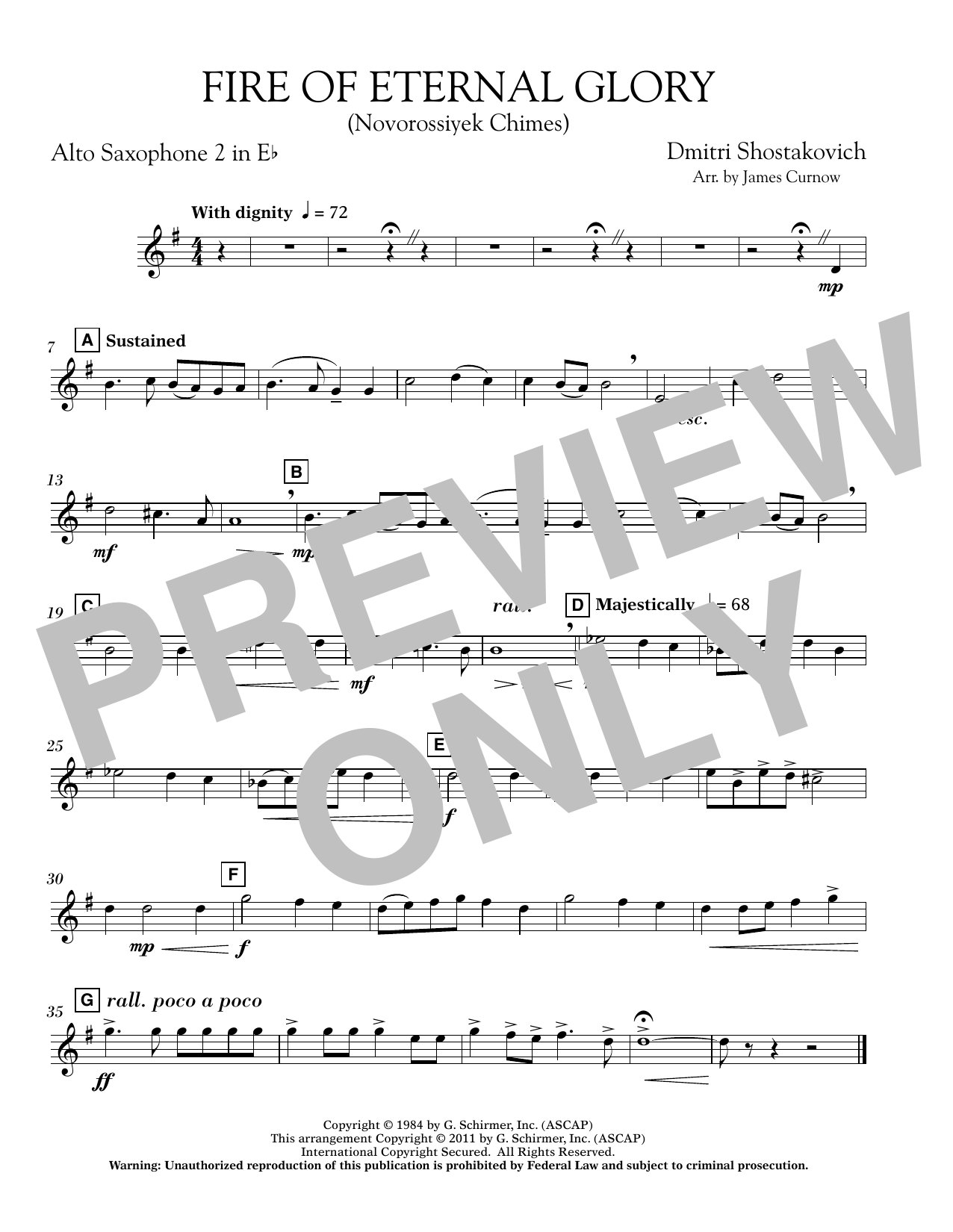 Fire of Eternal Glory (Novorossiyek Chimes) - Eb Alto Saxophone 2 (Concert Band)
