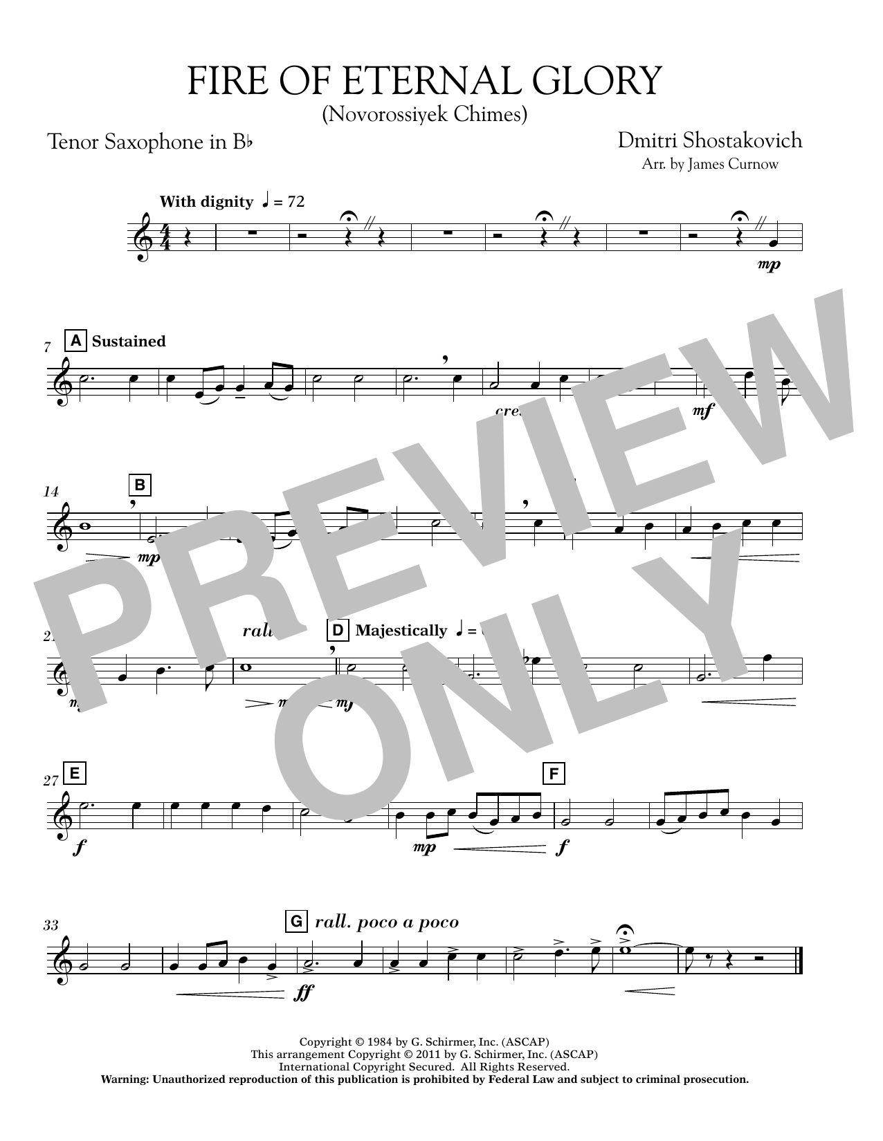 Fire of Eternal Glory (Novorossiyek Chimes) - Bb Tenor Saxophone (Concert Band)