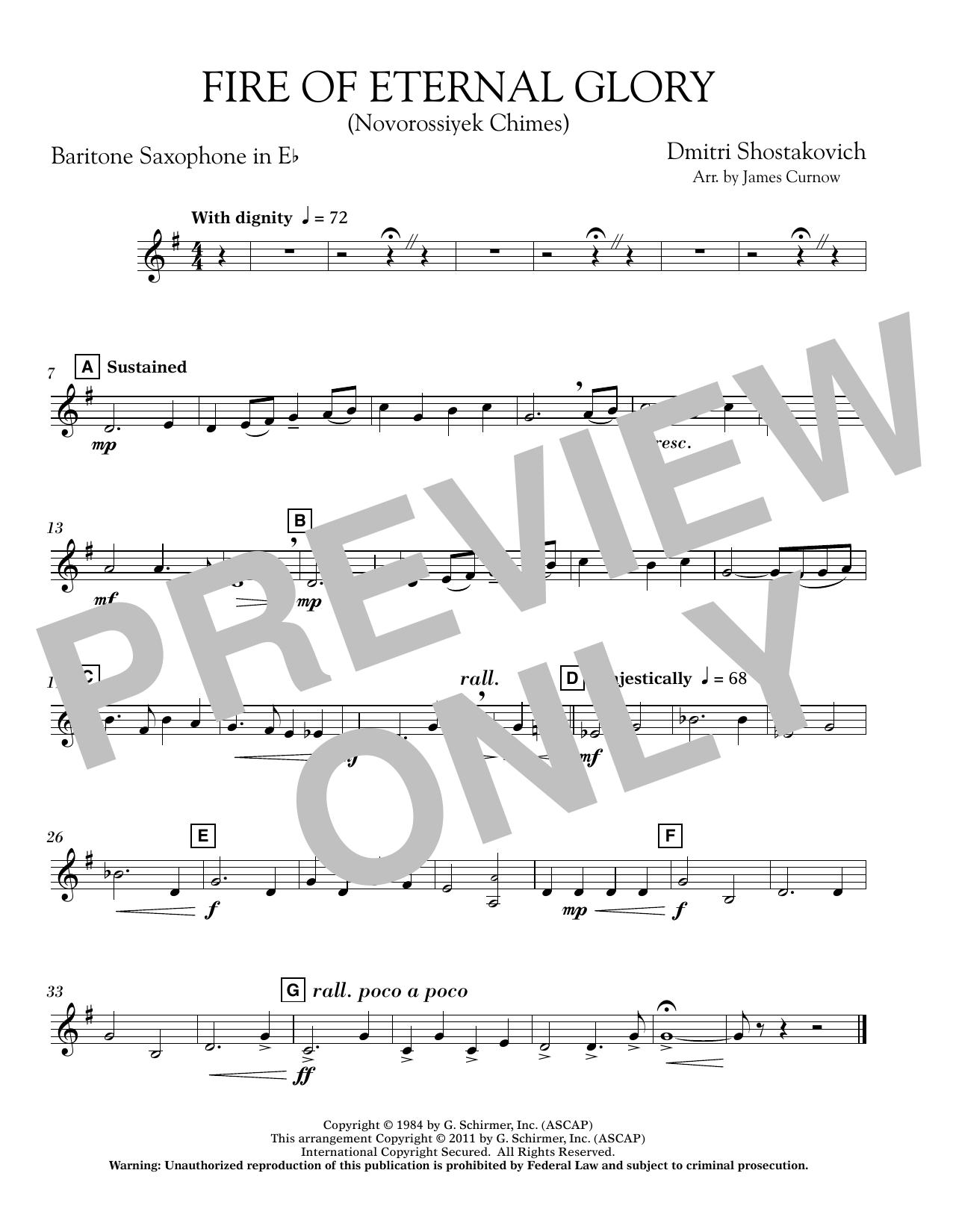 Fire of Eternal Glory (Novorossiyek Chimes) - Eb Baritone Saxophone (Concert Band)