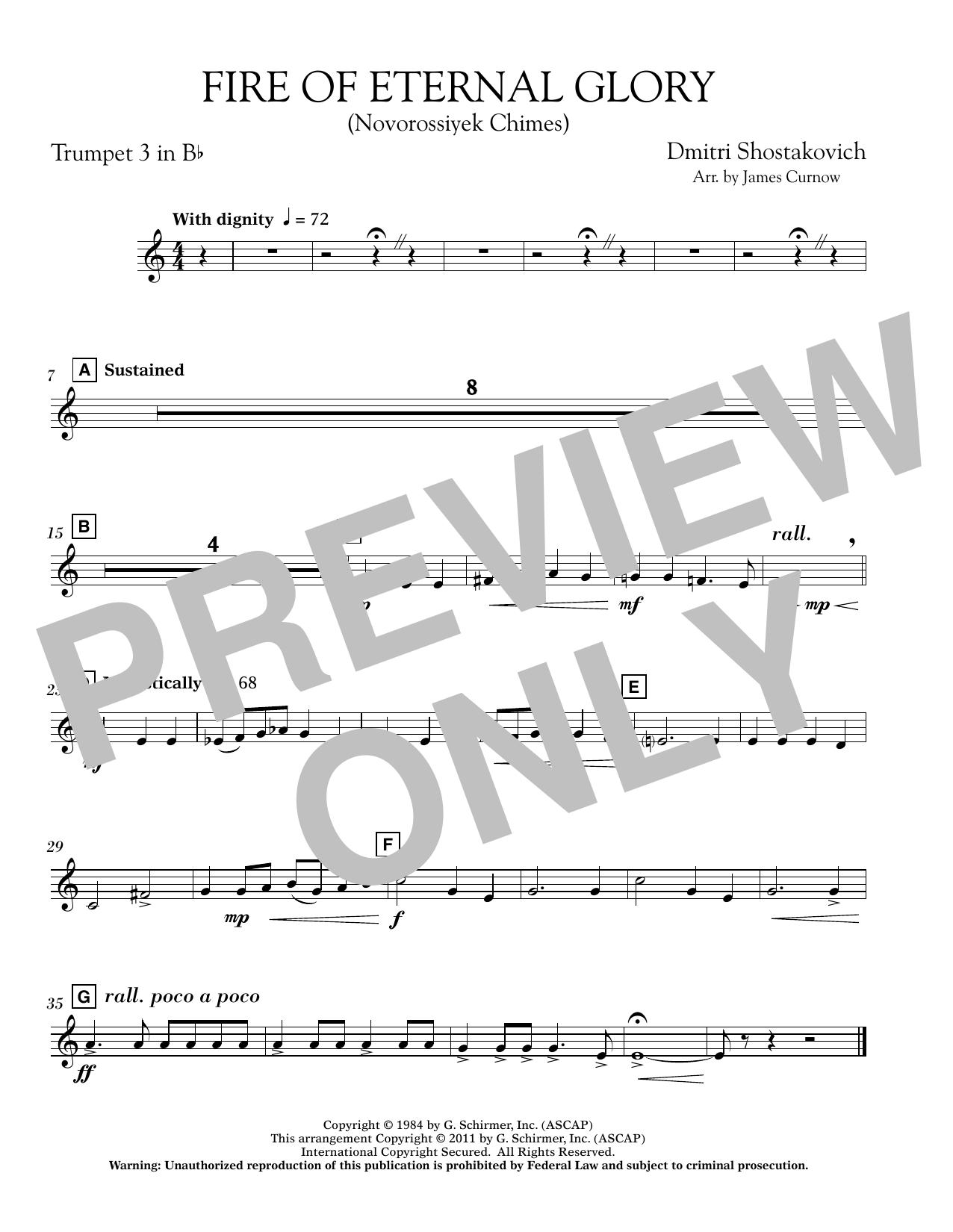 Fire of Eternal Glory (Novorossiyek Chimes) - Bb Trumpet 3 (Concert Band)
