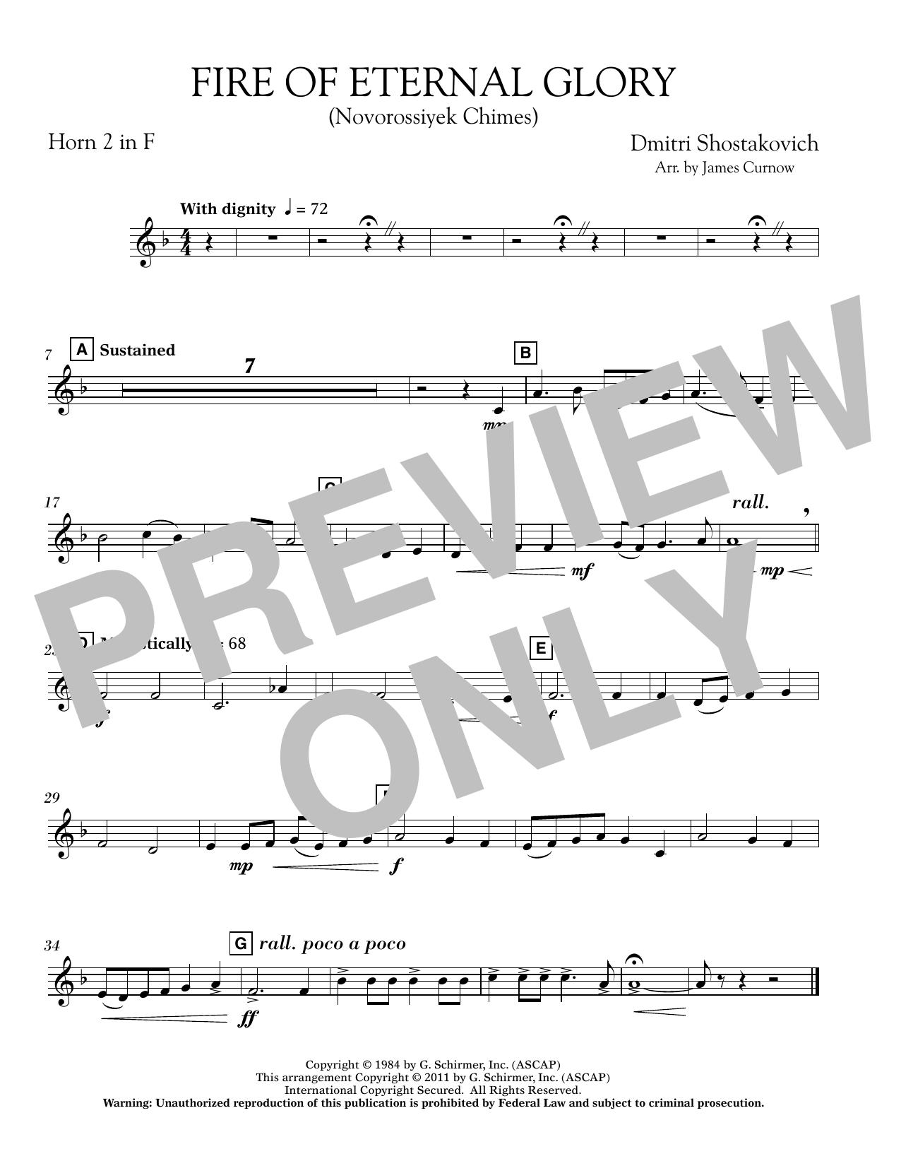 Fire of Eternal Glory (Novorossiyek Chimes) - F Horn 2 (Concert Band)