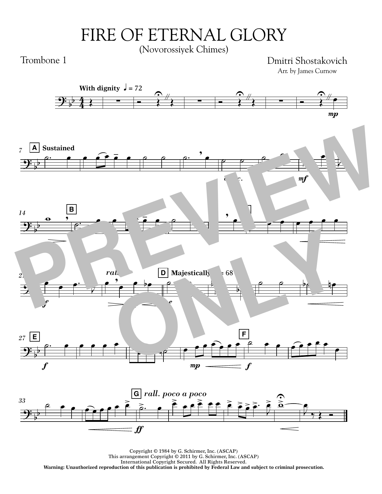 Fire of Eternal Glory (Novorossiyek Chimes) - Trombone 1 (Concert Band)