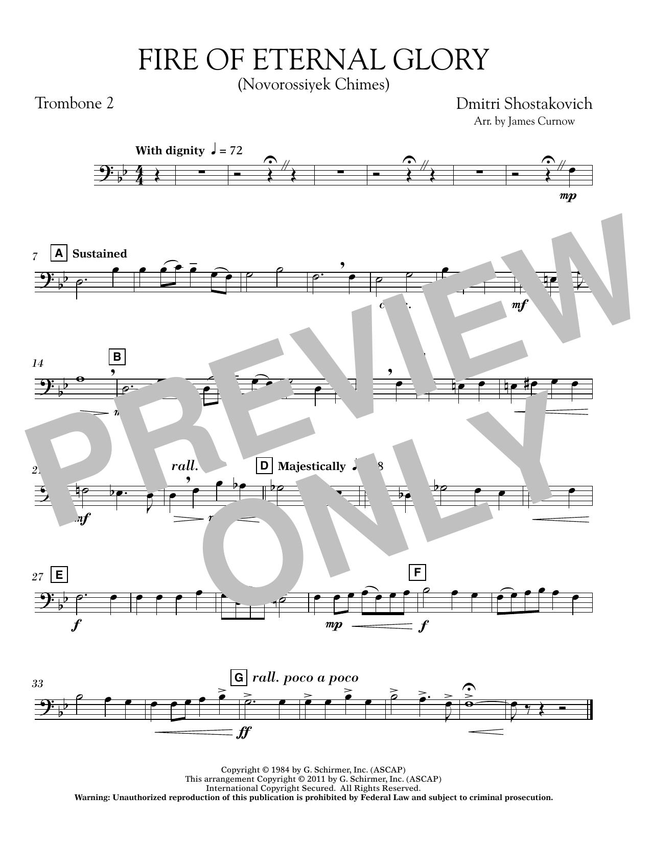 Fire of Eternal Glory (Novorossiyek Chimes) - Trombone 2 (Concert Band)