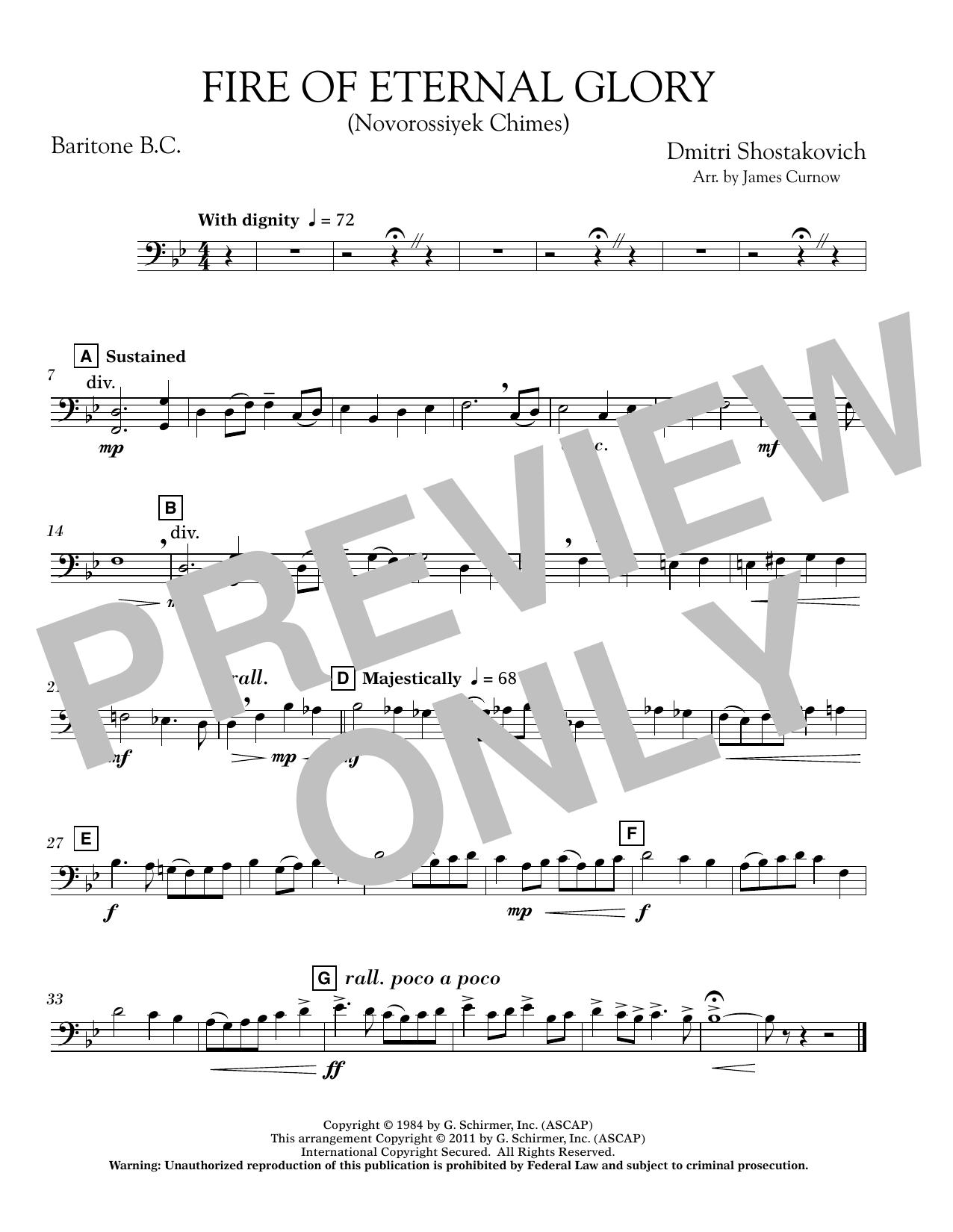 Fire of Eternal Glory (Novorossiyek Chimes) - Baritone B.C. (Concert Band)
