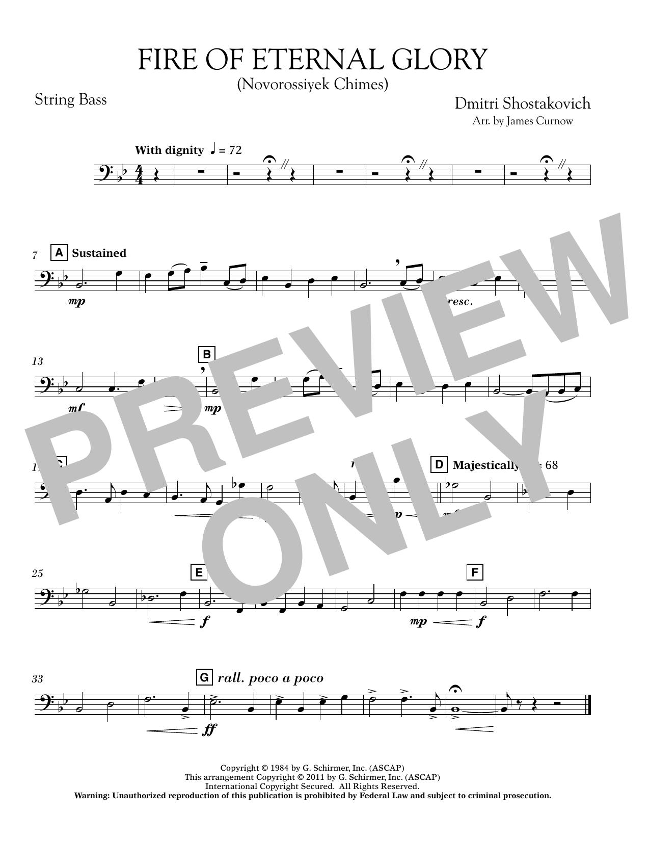 Fire of Eternal Glory (Novorossiyek Chimes) - String Bass (Concert Band)