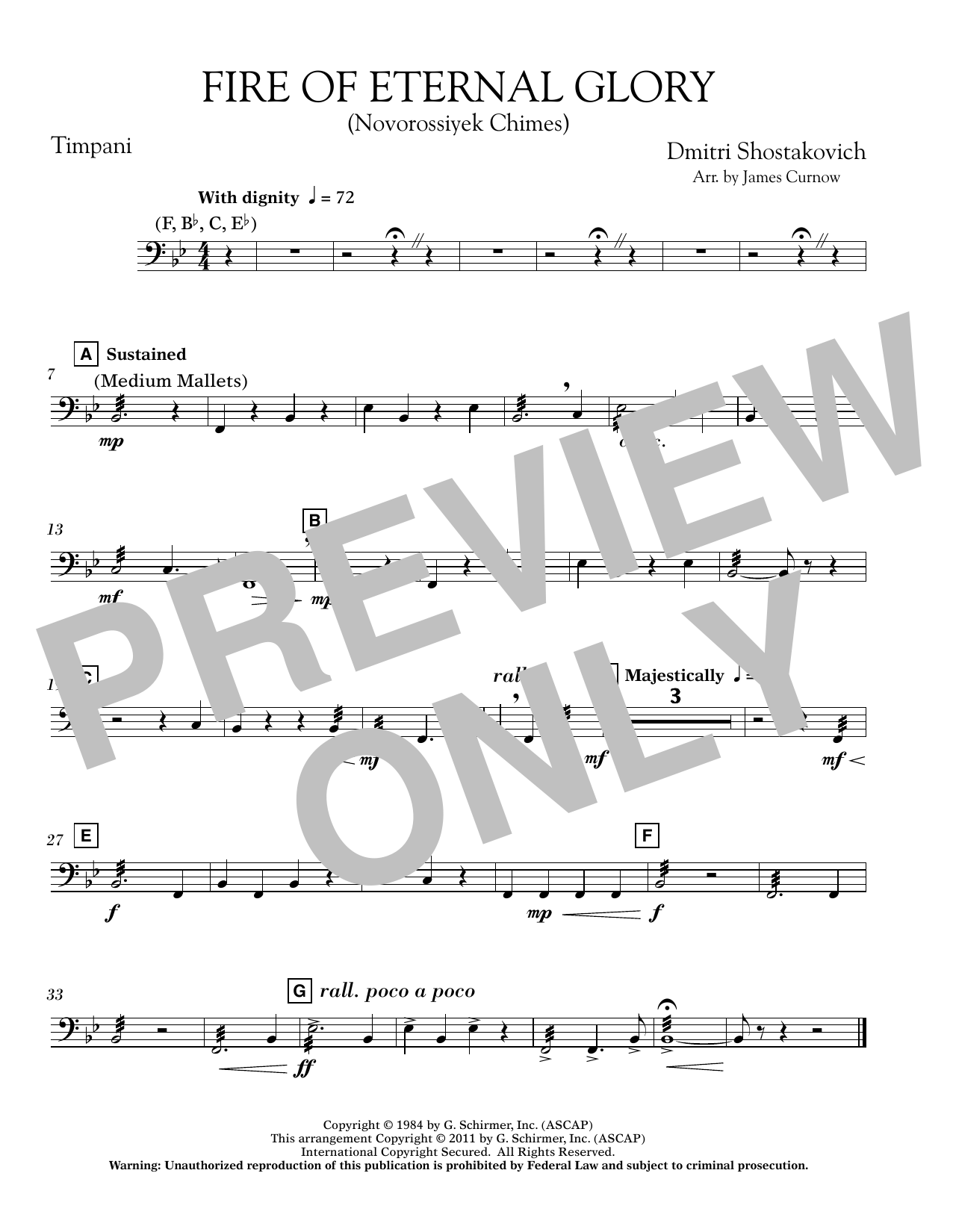 Fire of Eternal Glory (Novorossiyek Chimes) - Timpani (Concert Band)