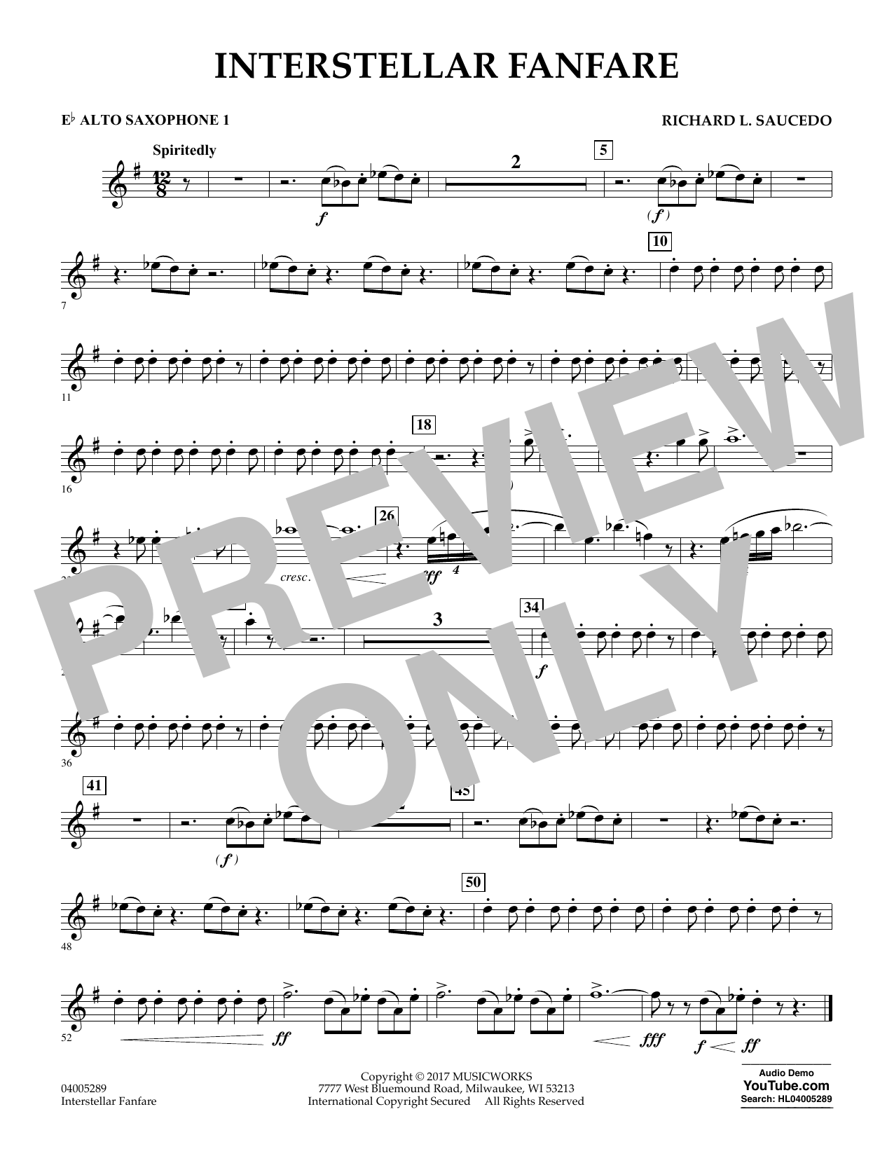 Interstellar Fanfare - Eb Alto Saxophone 1 (Concert Band)