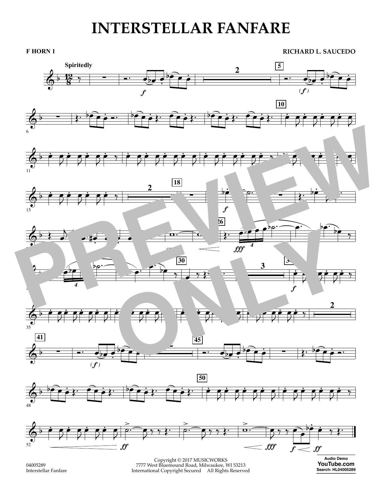 Interstellar Fanfare - F Horn 1 (Concert Band)