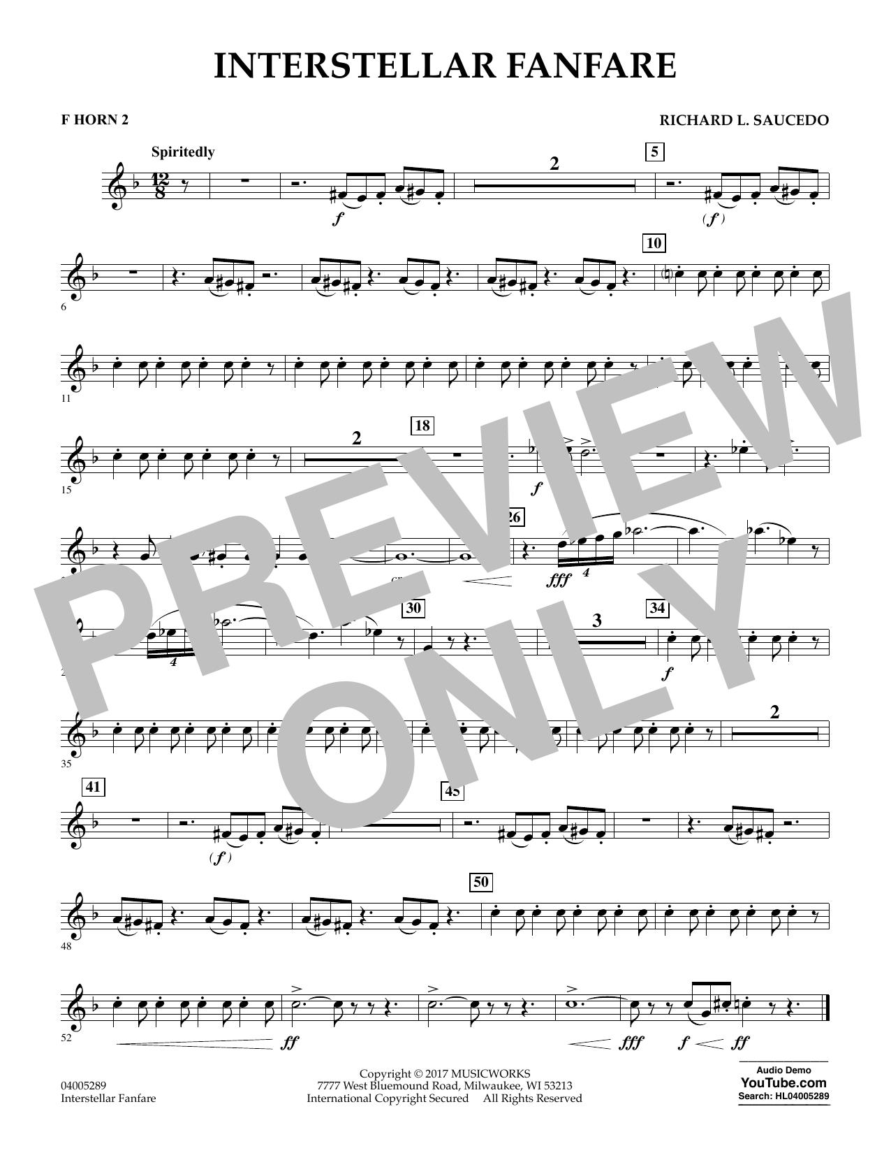 Interstellar Fanfare - F Horn 2 (Concert Band)