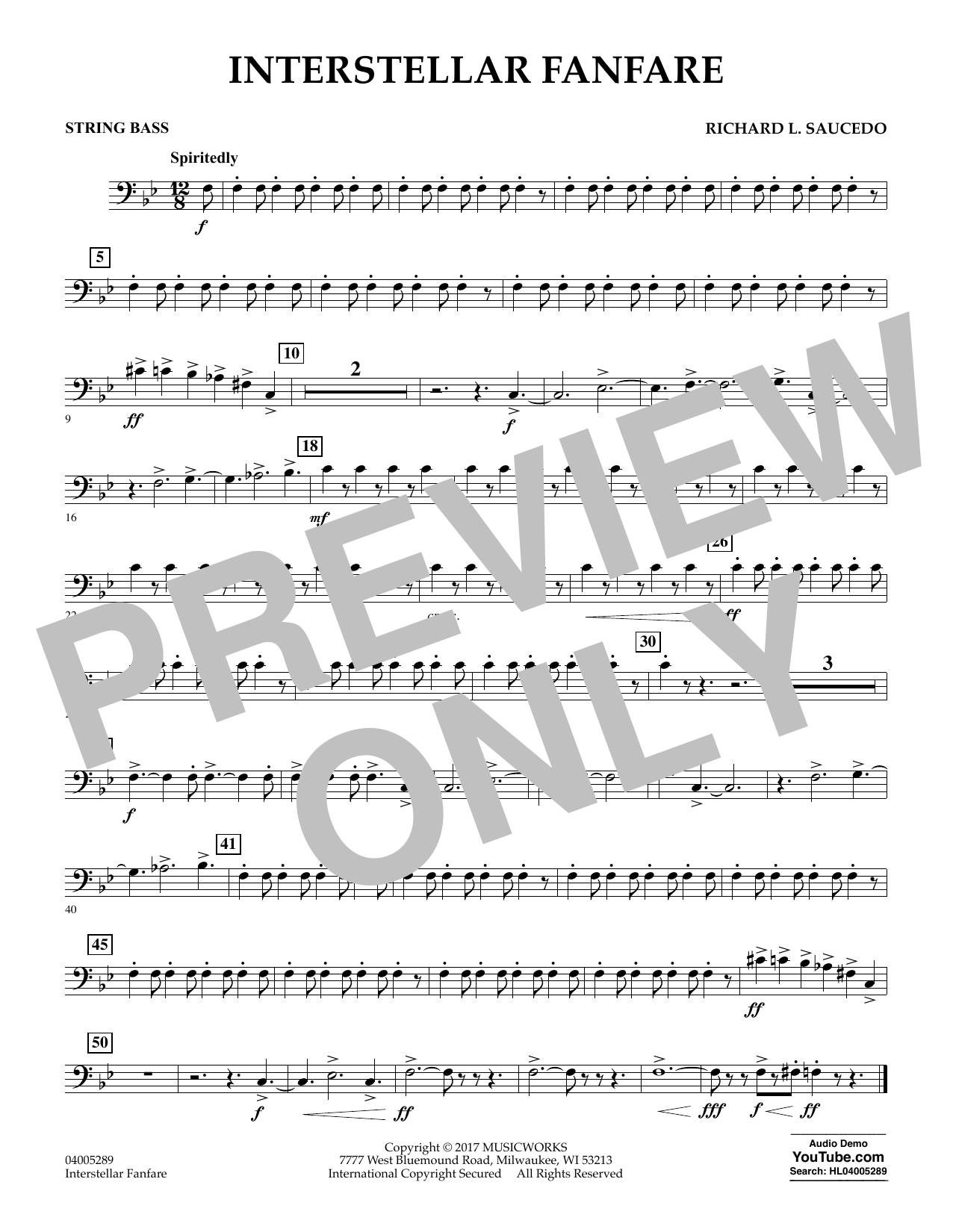 Interstellar Fanfare - String Bass (Concert Band)