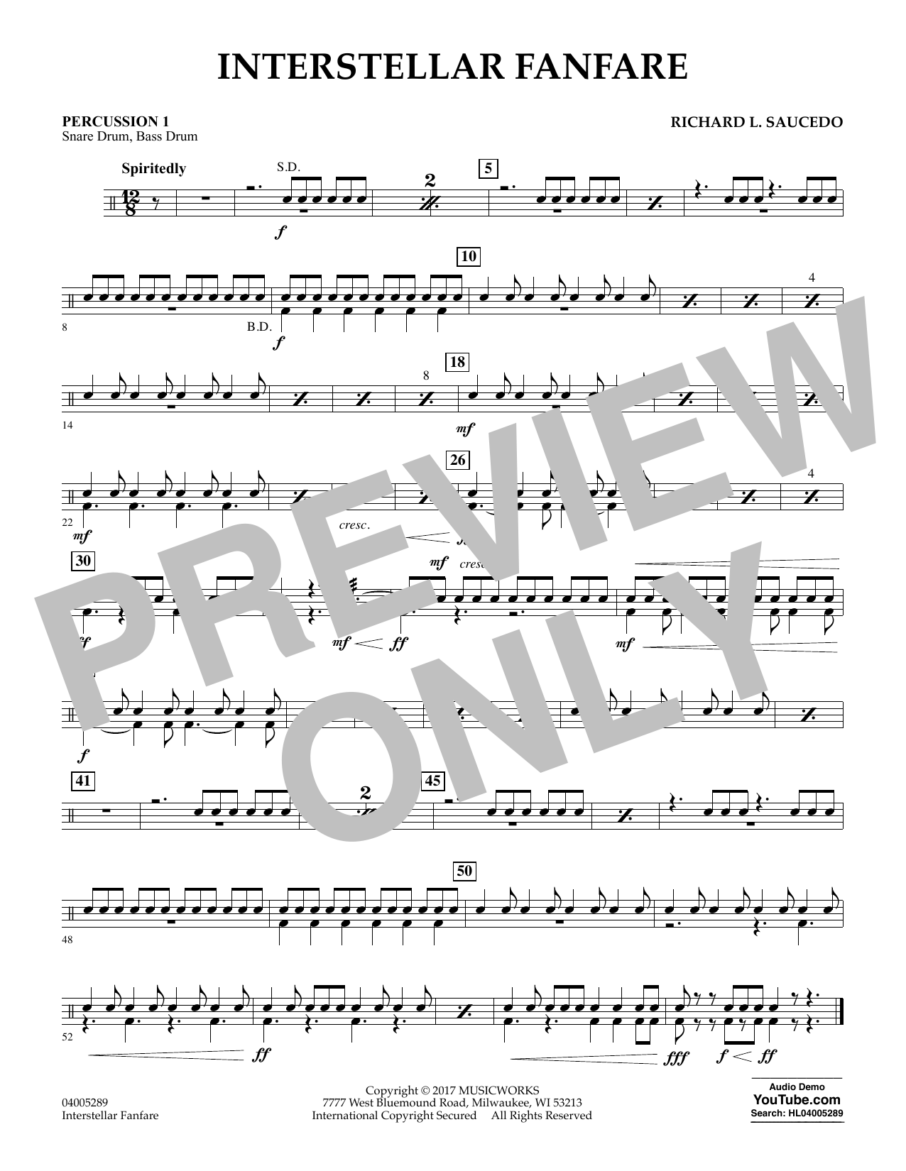 Interstellar Fanfare - Percussion 1 (Concert Band)