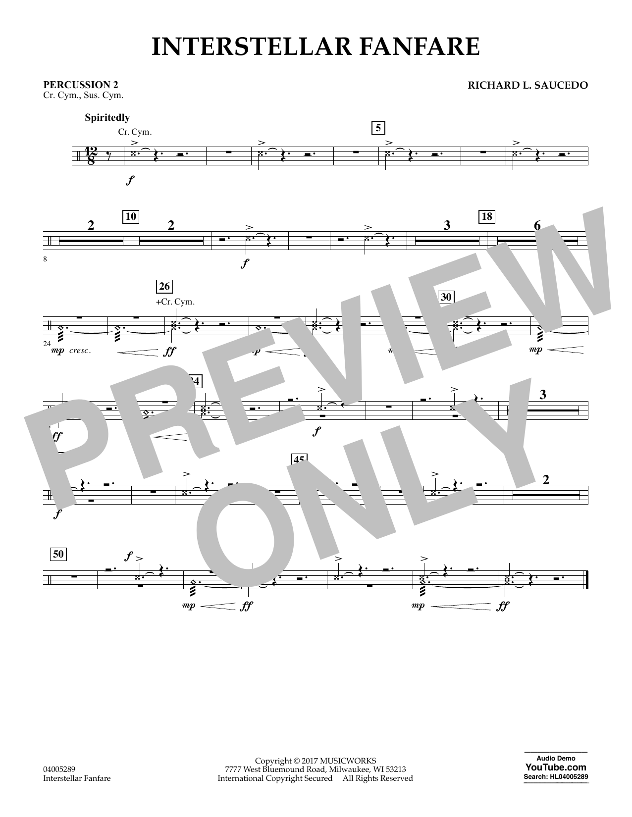 Interstellar Fanfare - Percussion 2 (Concert Band)